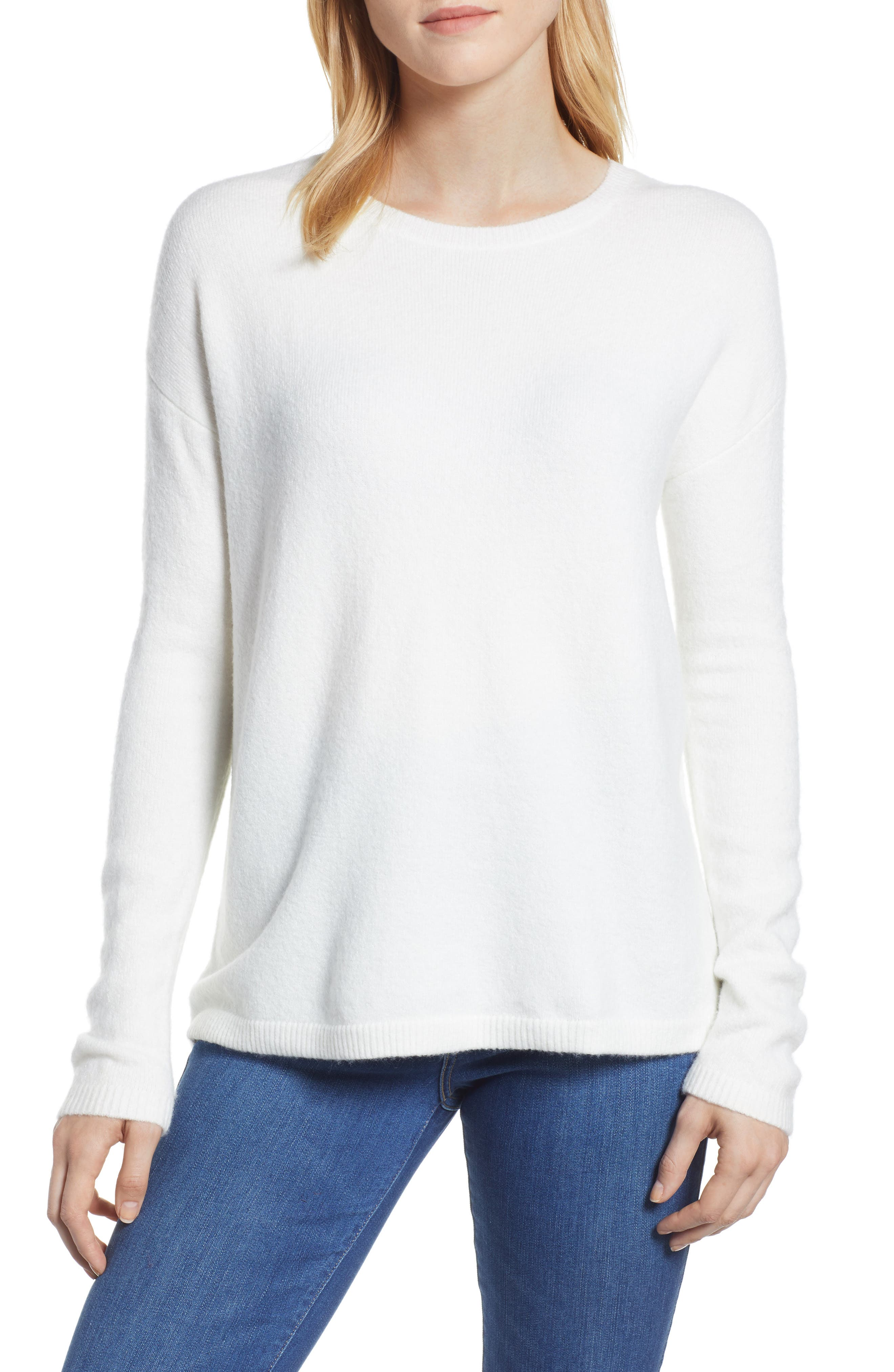 Bow Back Sweater,                         Main,                         color, IVORY CLOUD