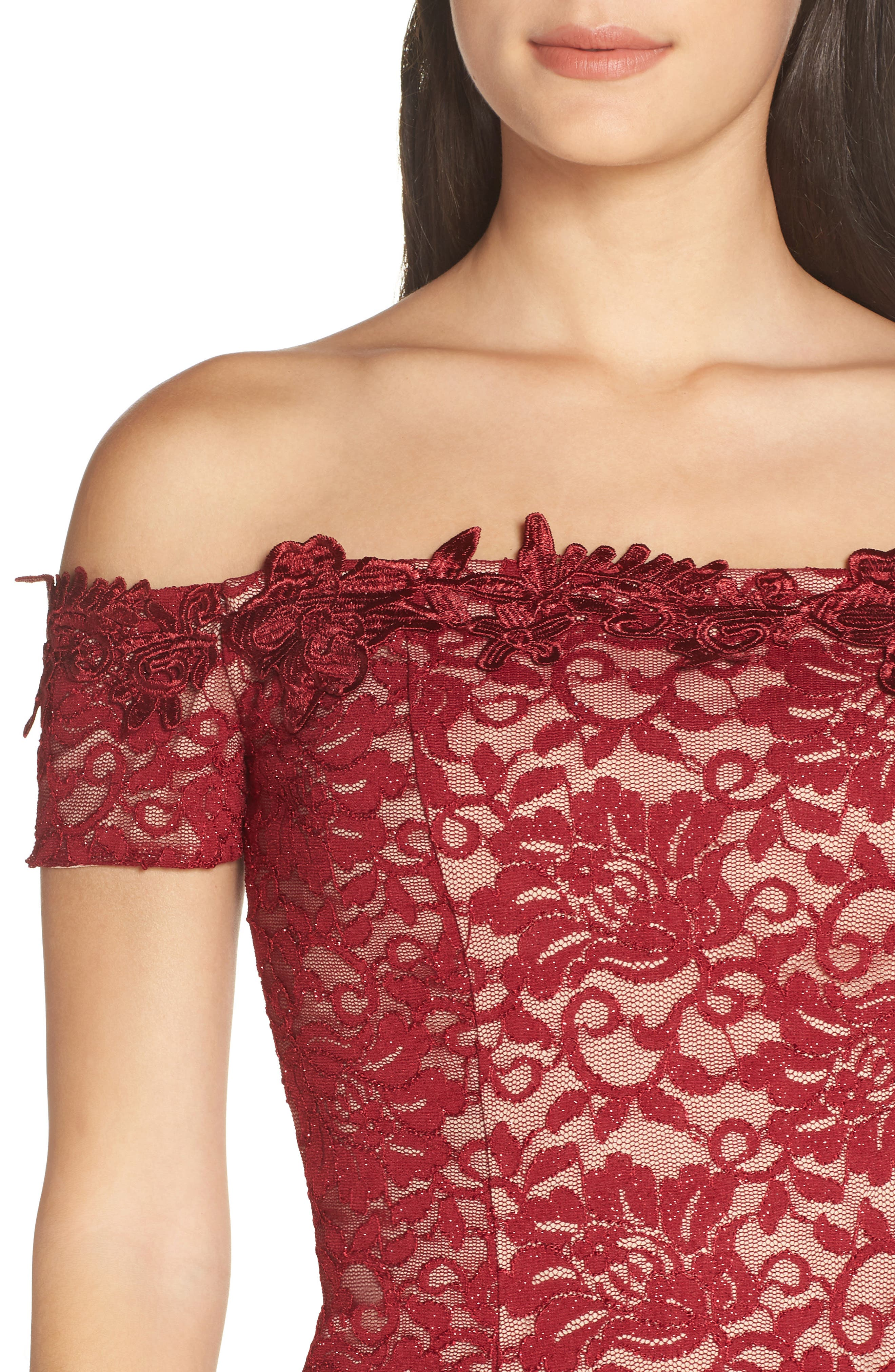 Off the Shoulder Glitter Lace Sheath,                             Alternate thumbnail 4, color,                             WINE/ NUDE