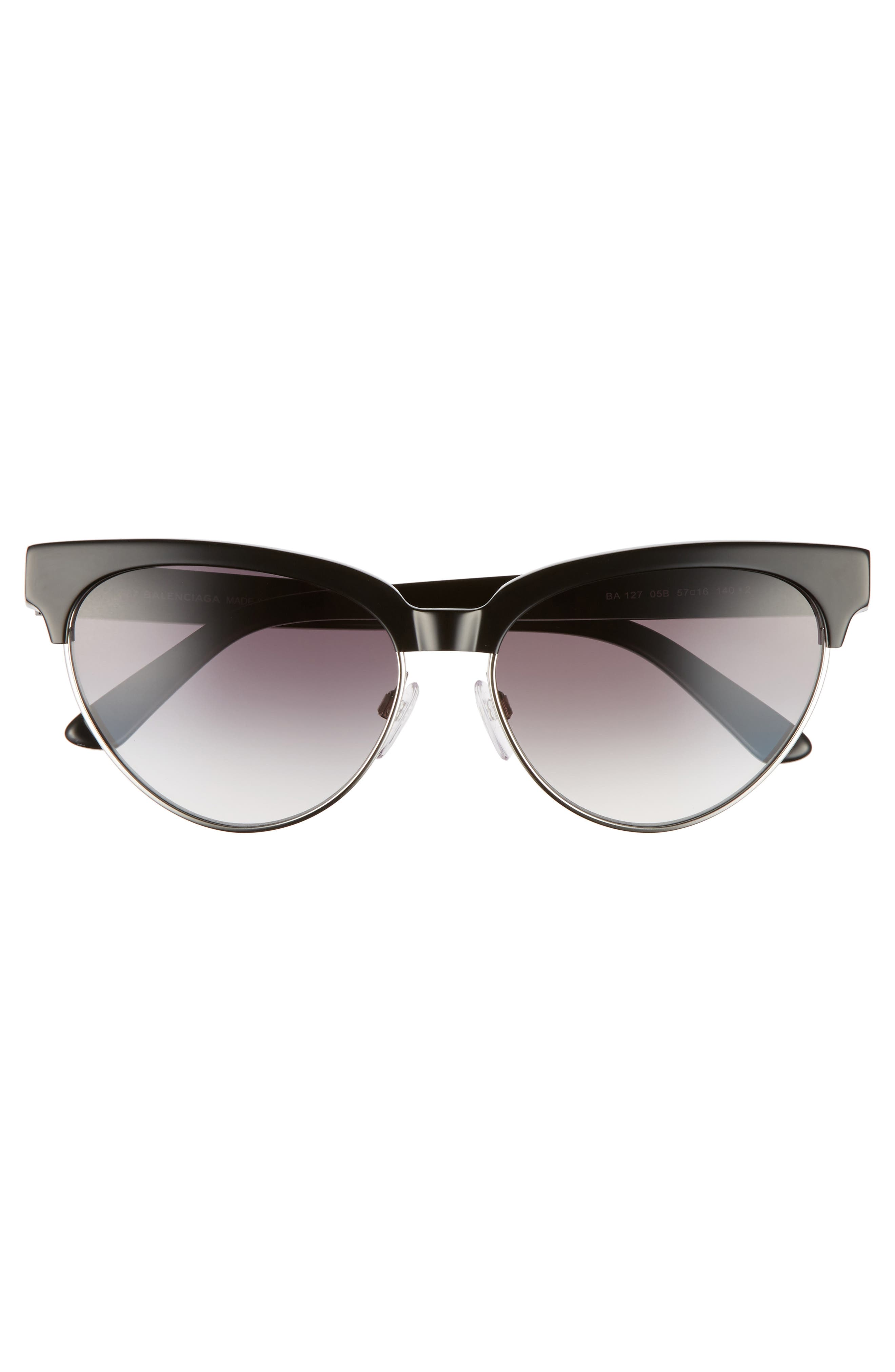 57mm Gradient Cat Eye Sunglasses,                             Alternate thumbnail 3, color,                             001