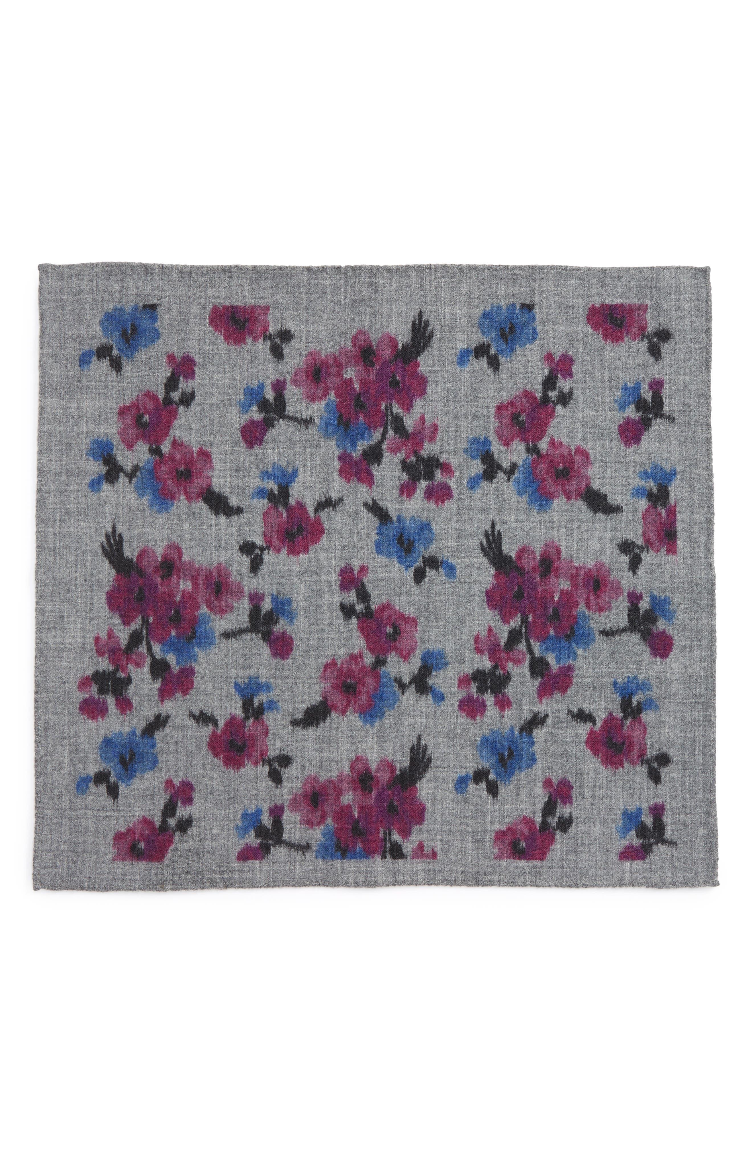 Floral Wool Pocket Square,                             Alternate thumbnail 2, color,                             020
