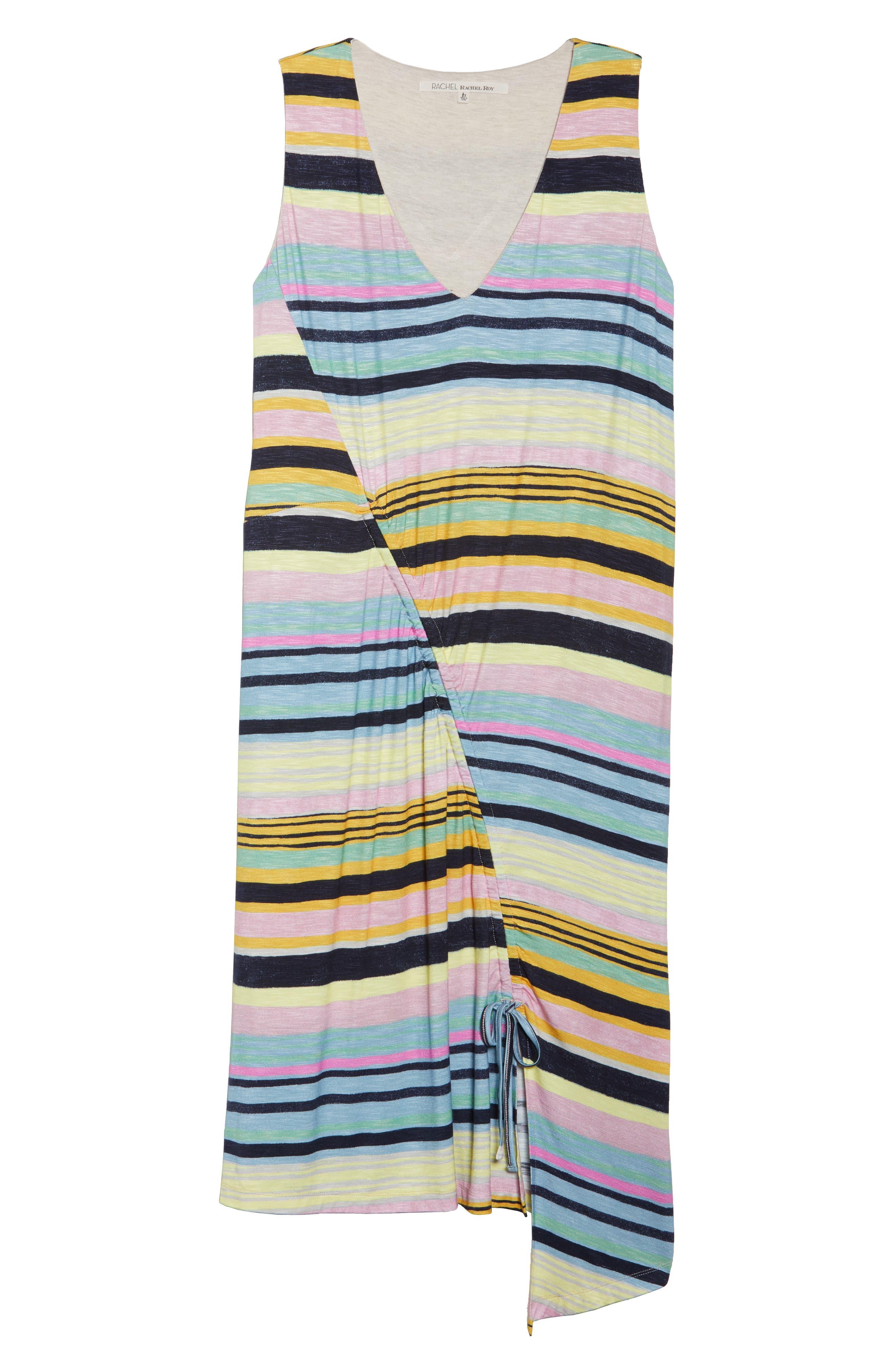 Asymmetrical Cinched Stripe Dress,                             Alternate thumbnail 6, color,                             NAVY COMBO