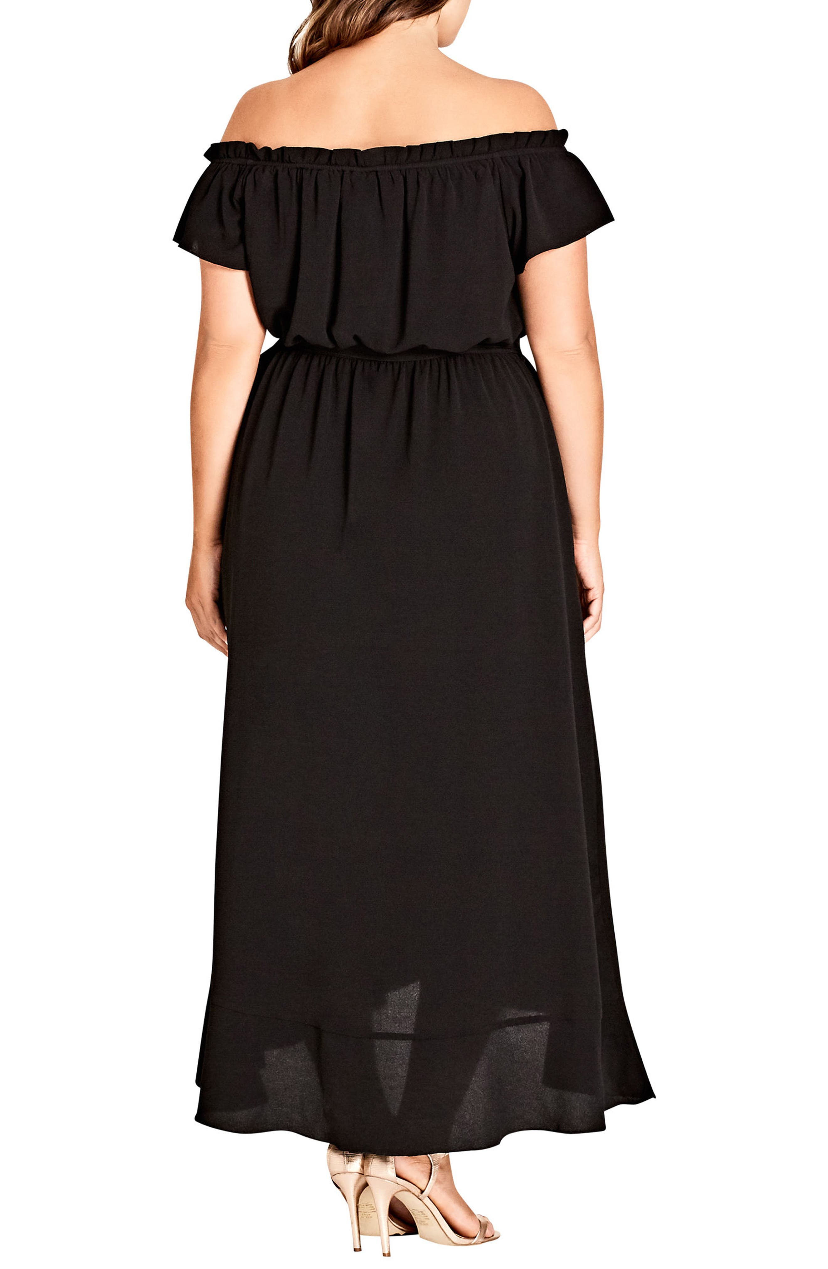 CITY CHIC,                             Ruffle Off the Shoulder Dress,                             Alternate thumbnail 2, color,                             006