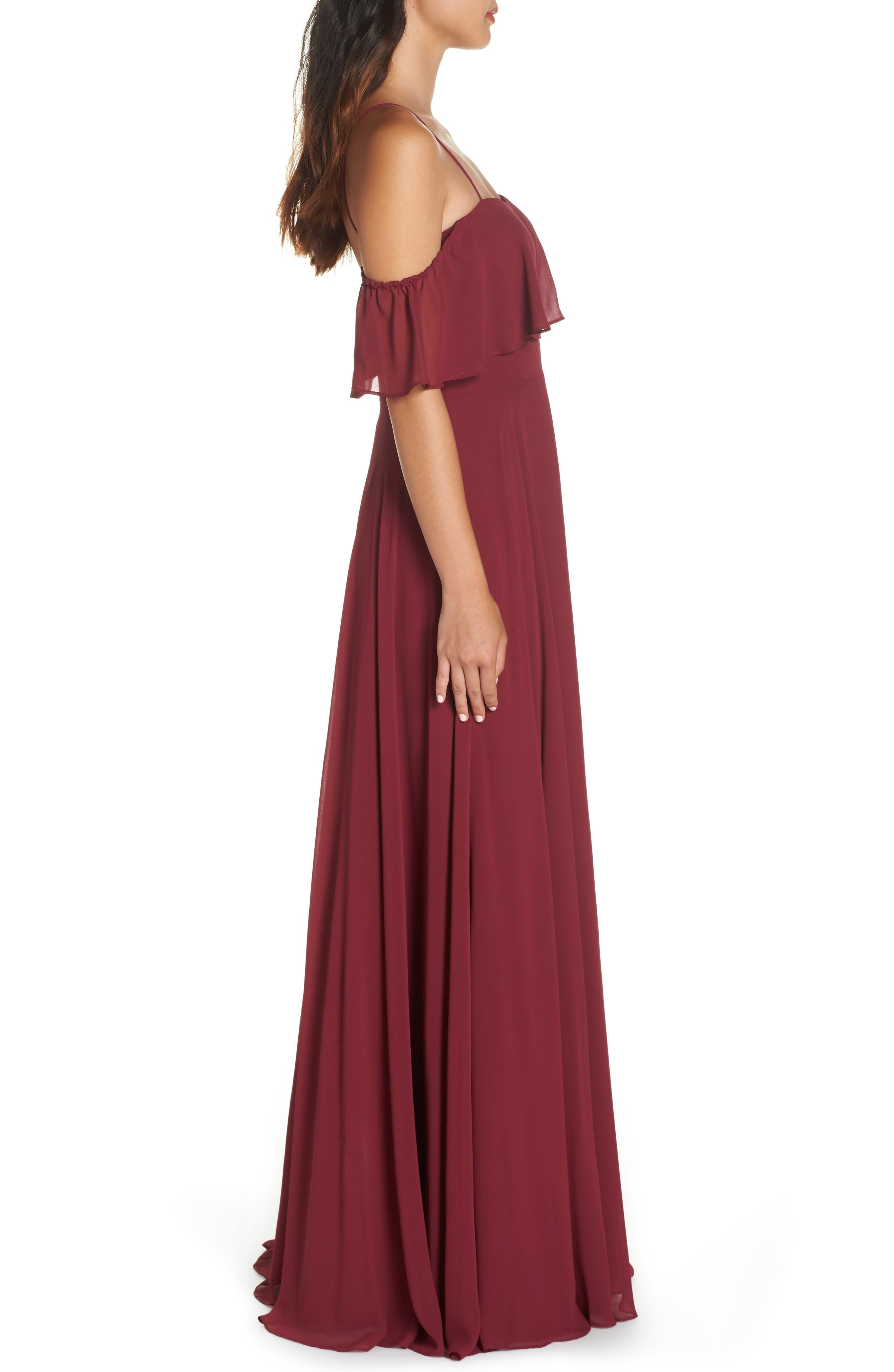 Chiffon Cold Shoulder Gown,                             Alternate thumbnail 3, color,                             BURGUNDY