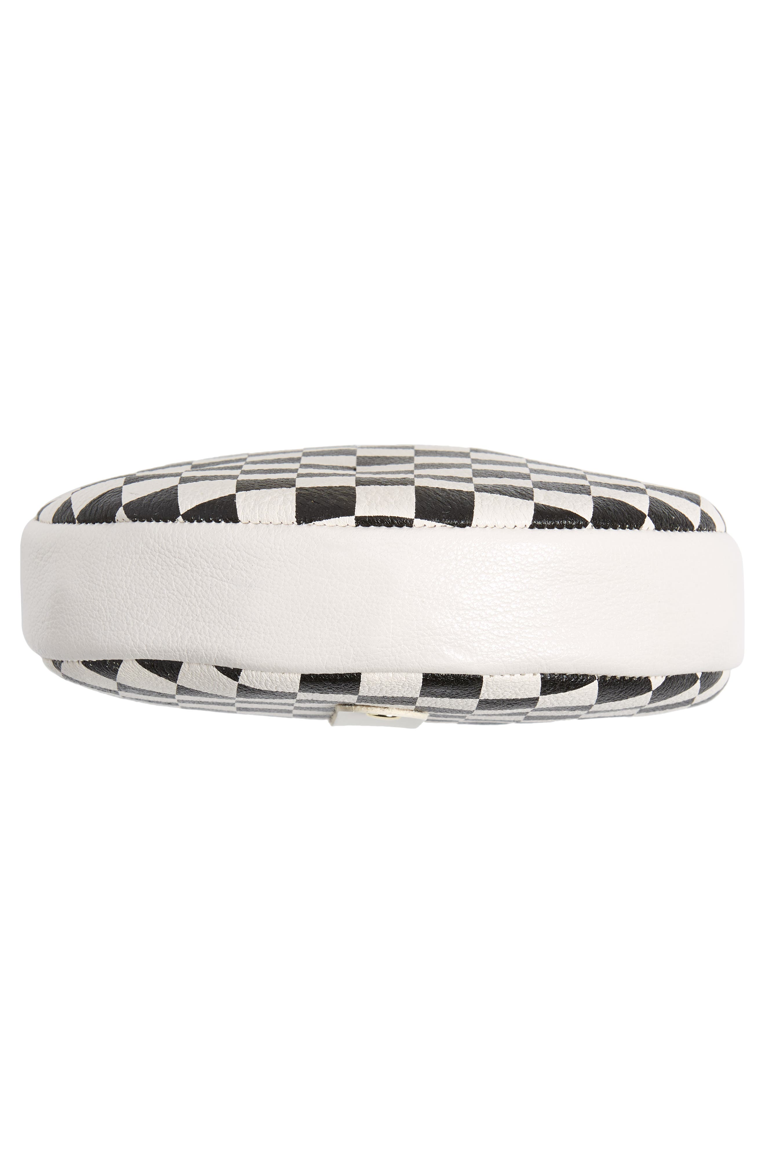 Checkered Leather Circle Clutch,                             Alternate thumbnail 6, color,                             001