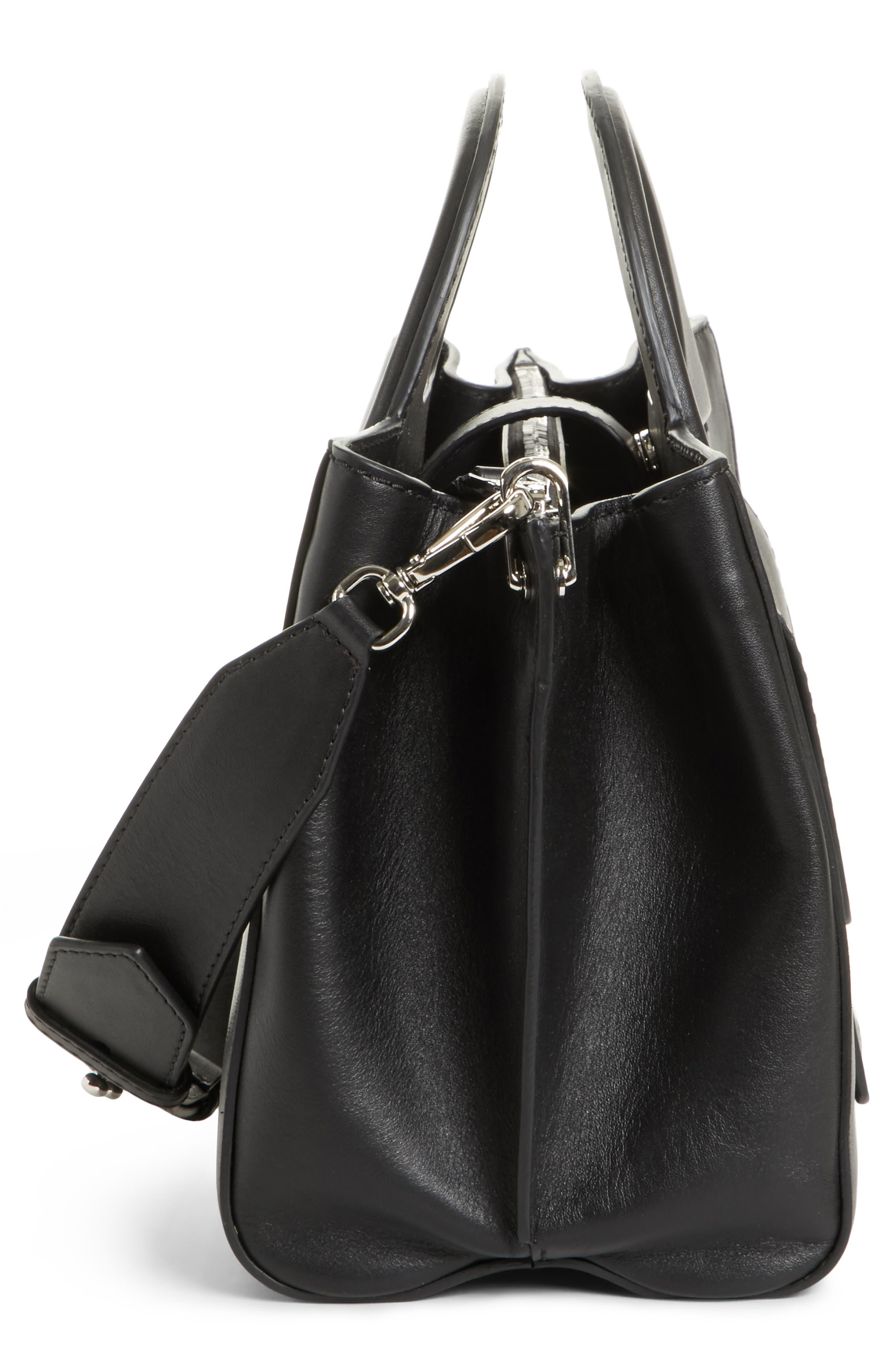 Small Grace Leather Tote,                             Alternate thumbnail 5, color,                             BLACK