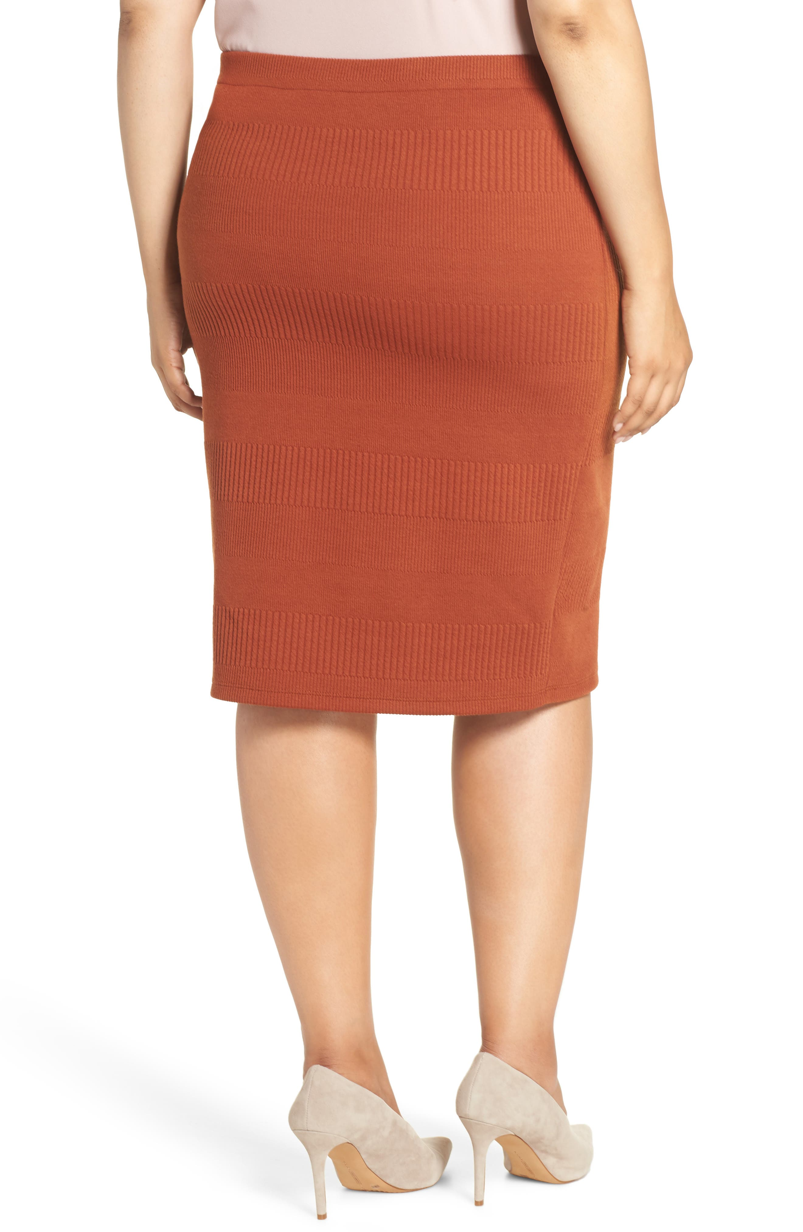 Midi Pencil Skirt,                             Alternate thumbnail 2, color,                             BROWN SPICE