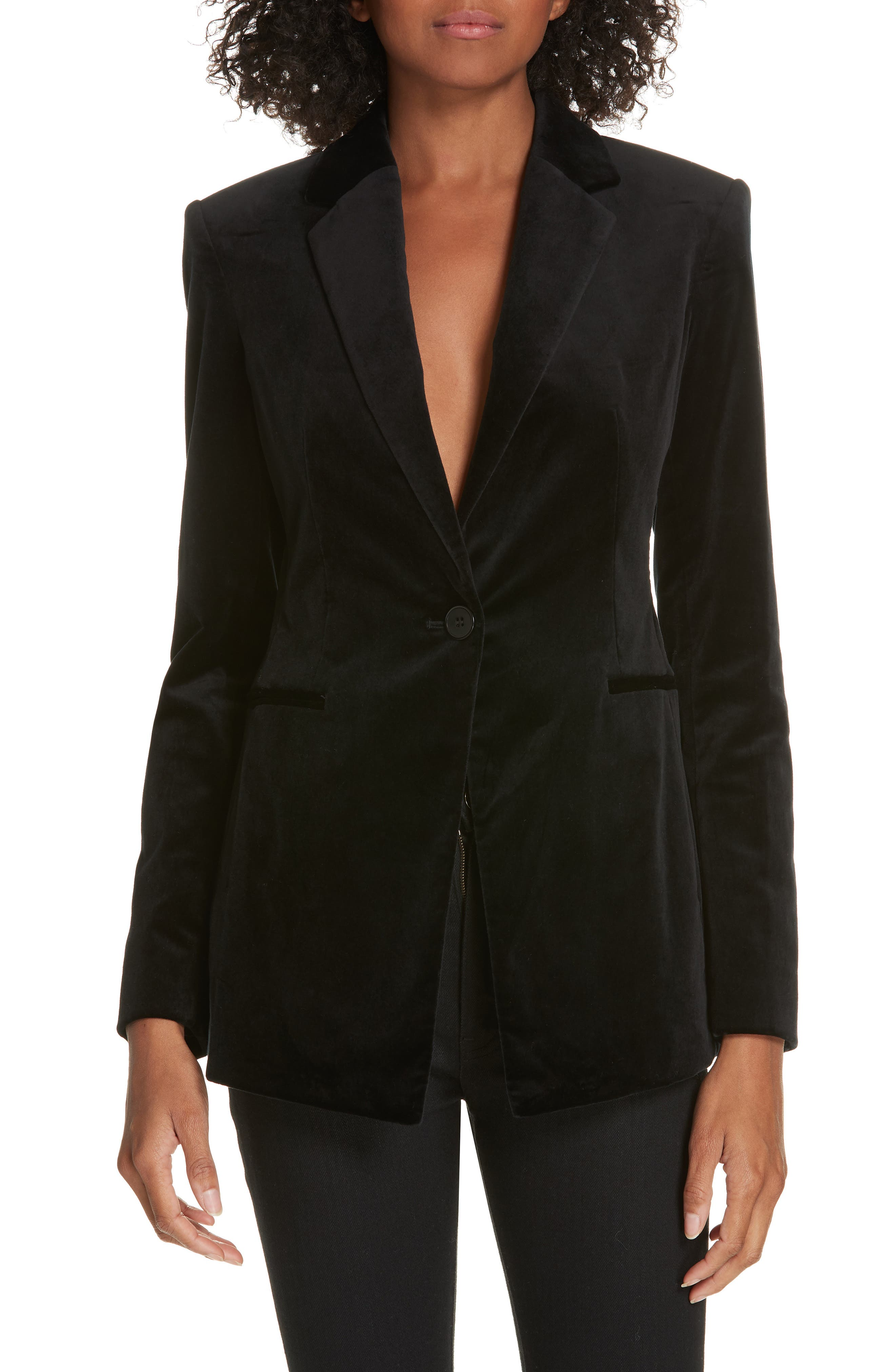 Stretch Velvet Power Jacket,                         Main,                         color, BLACK