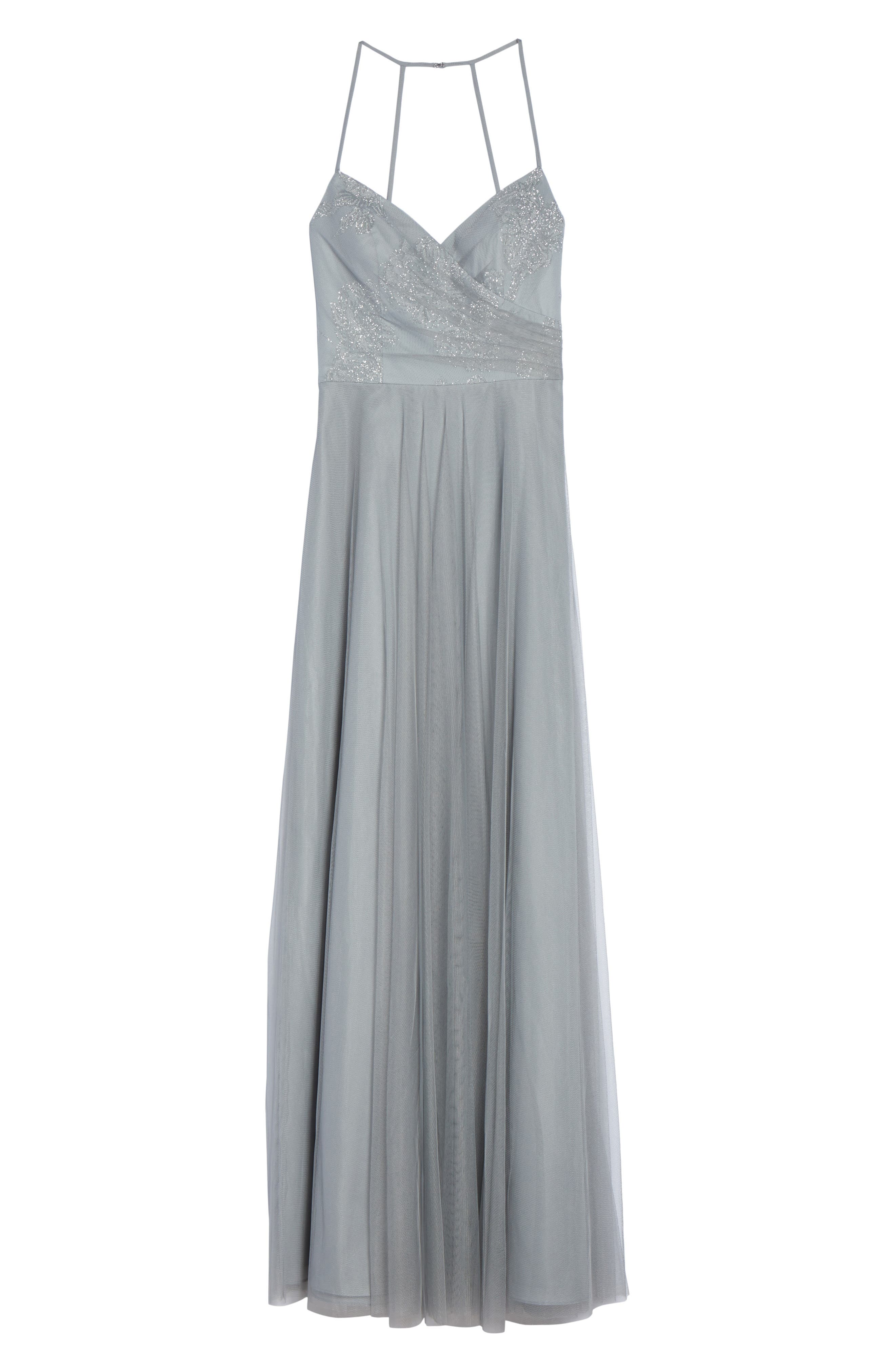 Beaded Trumpet Gown,                             Alternate thumbnail 6, color,                             PEWTER