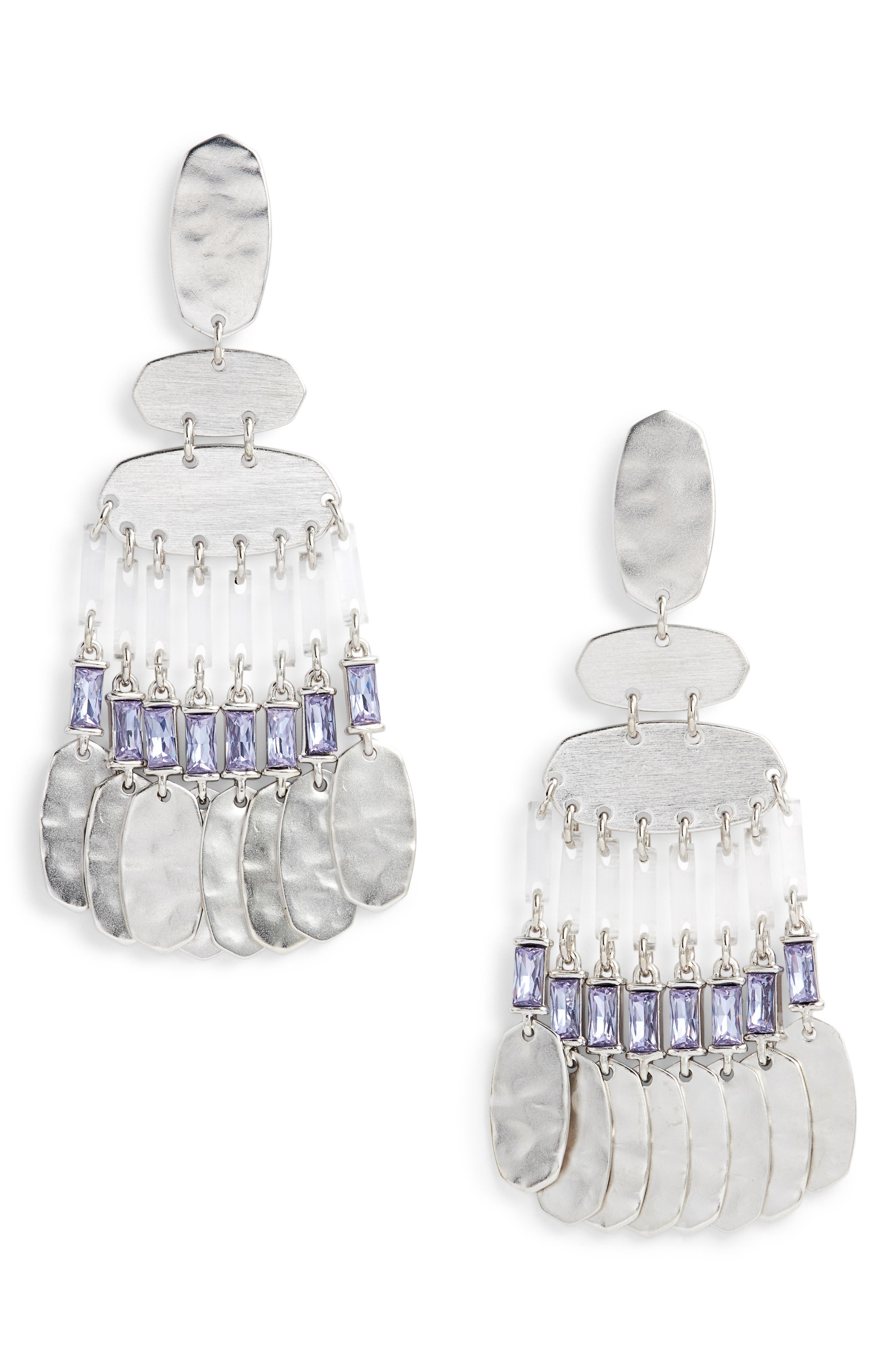 Oster Medium Chandelier Earrings in Lilac Crystal/ Silver