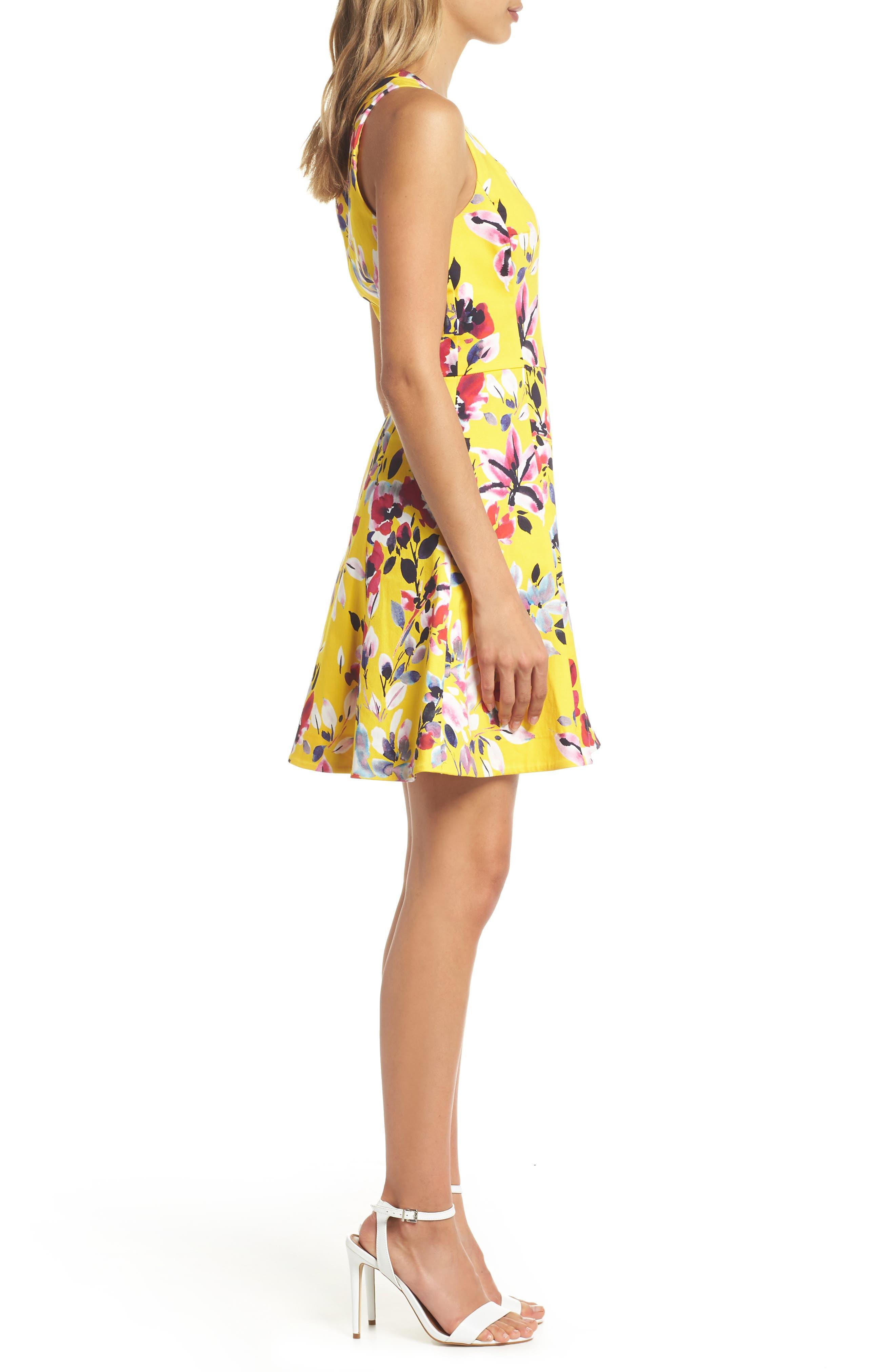 Linosa Fit & Flare Dress,                             Alternate thumbnail 3, color,                             CITRUS