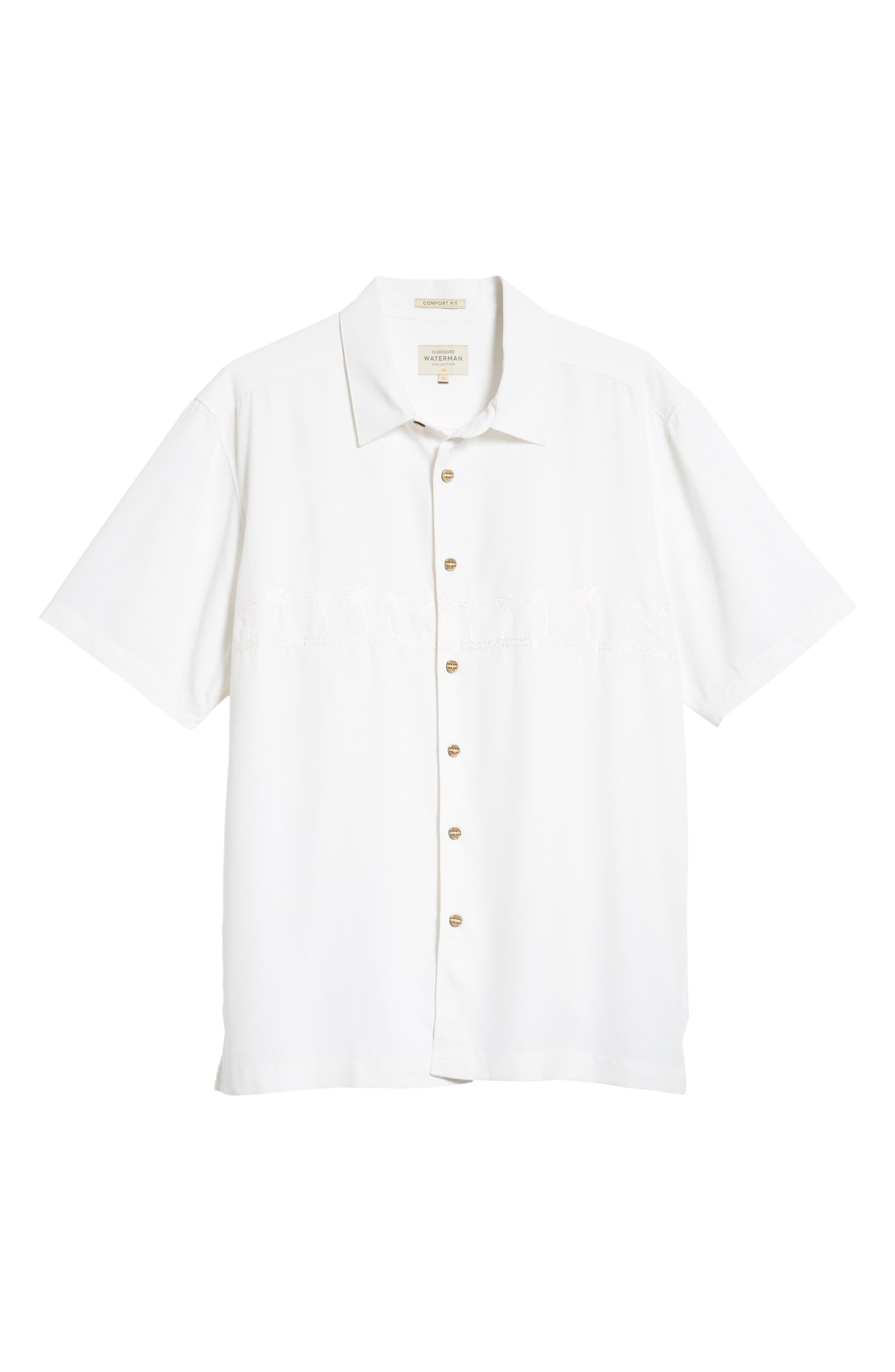 QUIKSILVER WATERMAN COLLECTION,                             Tahiti Palms Regular Fit Sport Shirt,                             Alternate thumbnail 5, color,                             WHITE