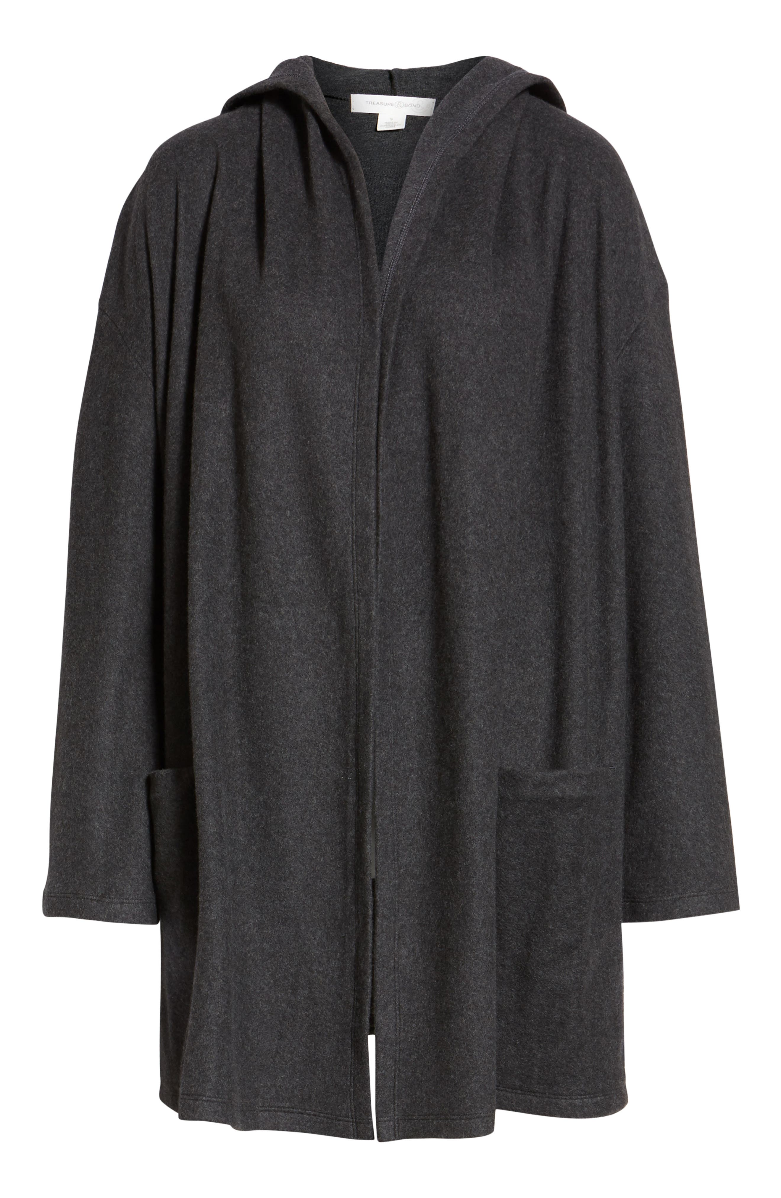 Hooded Open Front Cardigan,                             Alternate thumbnail 6, color,                             GREY DARK CHARCOAL HEATHER