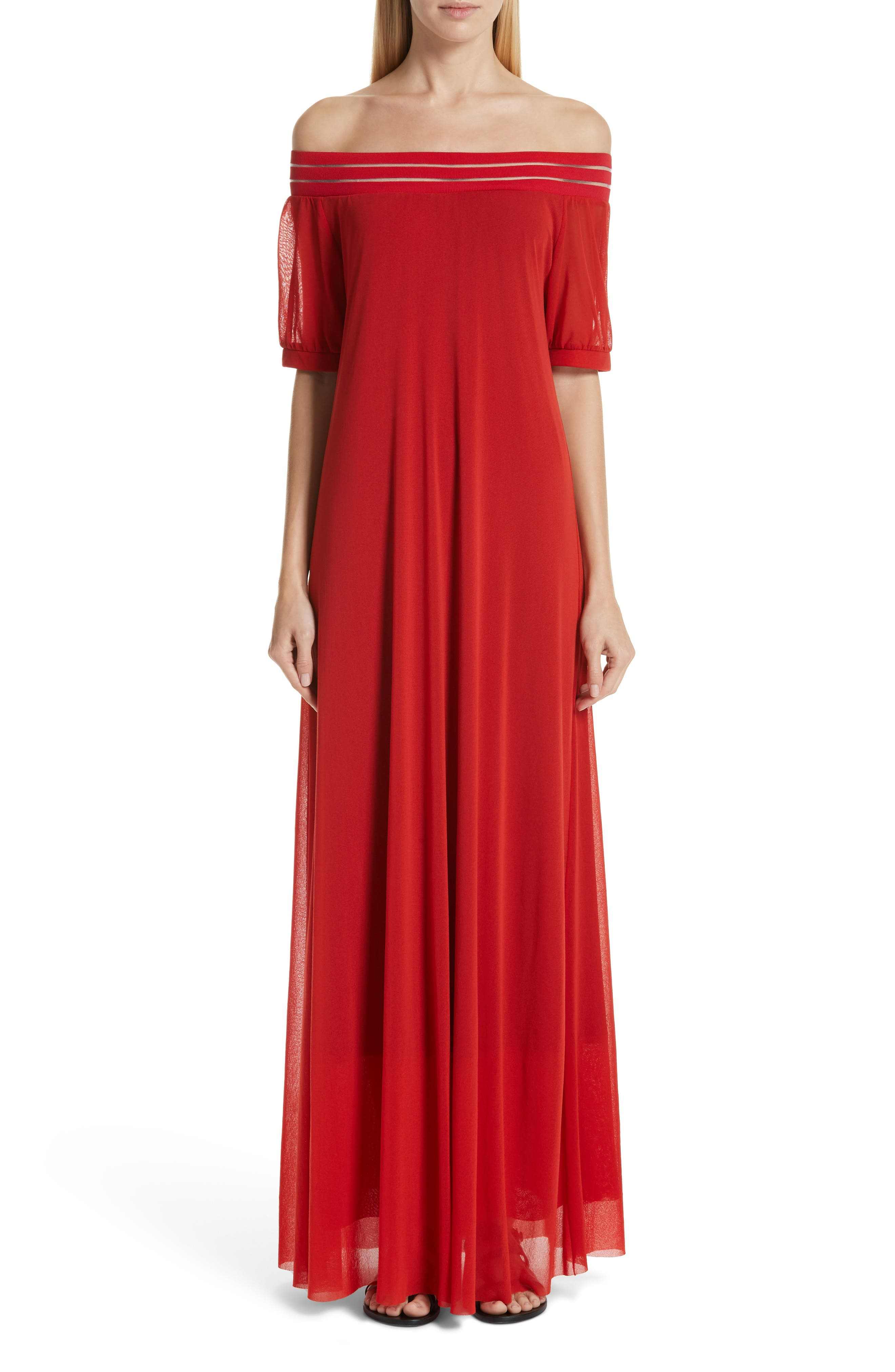 Fuzzi Illusion Off The Shoulder Maxi Dress, Red