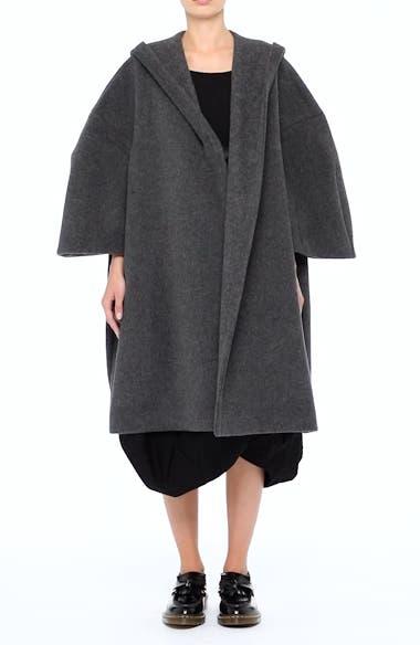 Long Hooded Wool Blend Coat, video thumbnail