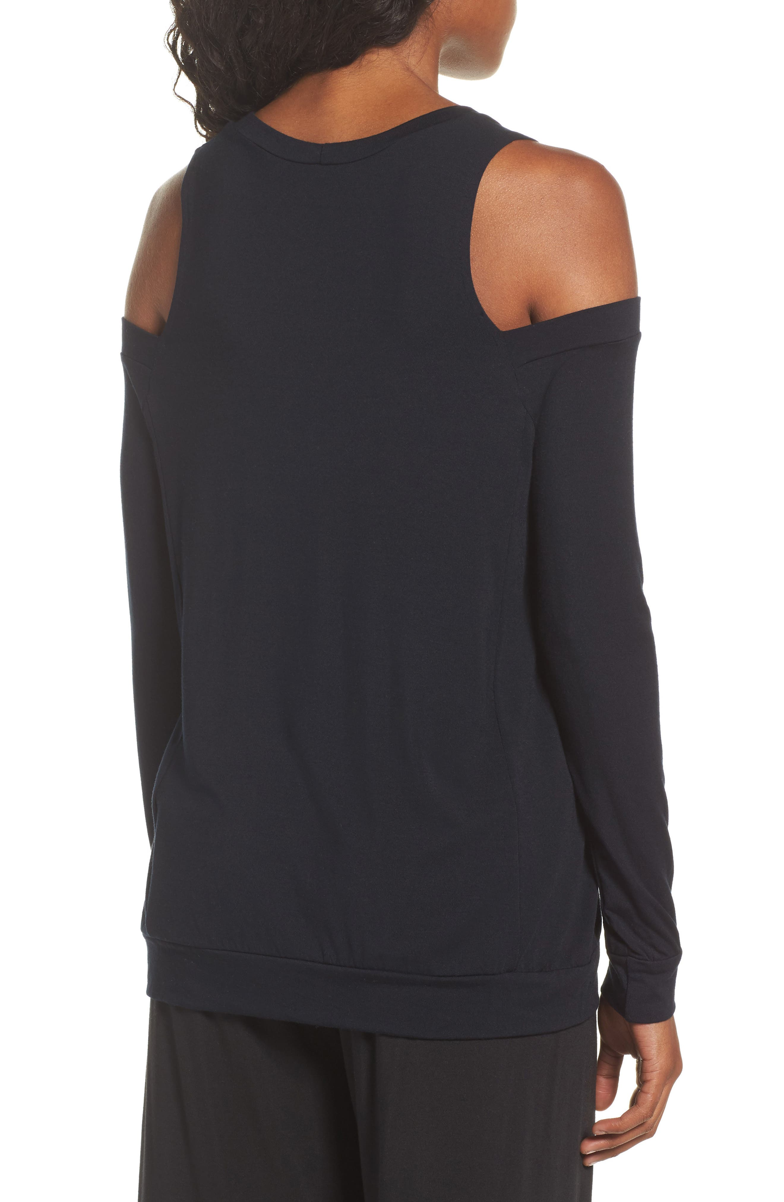 Roma Cold Shoulder Pullover,                             Alternate thumbnail 2, color,                             001