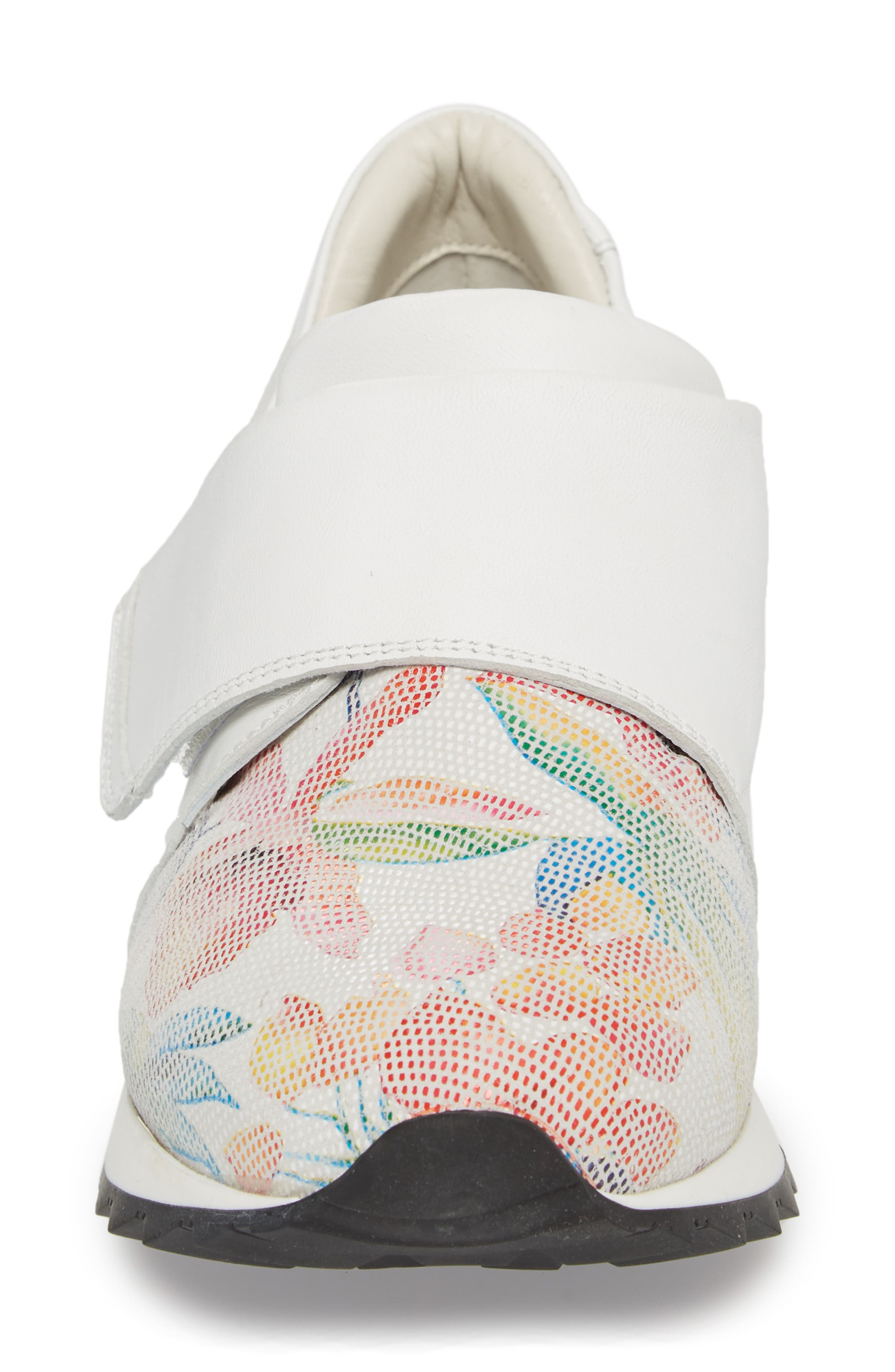 Danza Wedge Sneaker,                             Alternate thumbnail 4, color,                             WHITE LEATHER