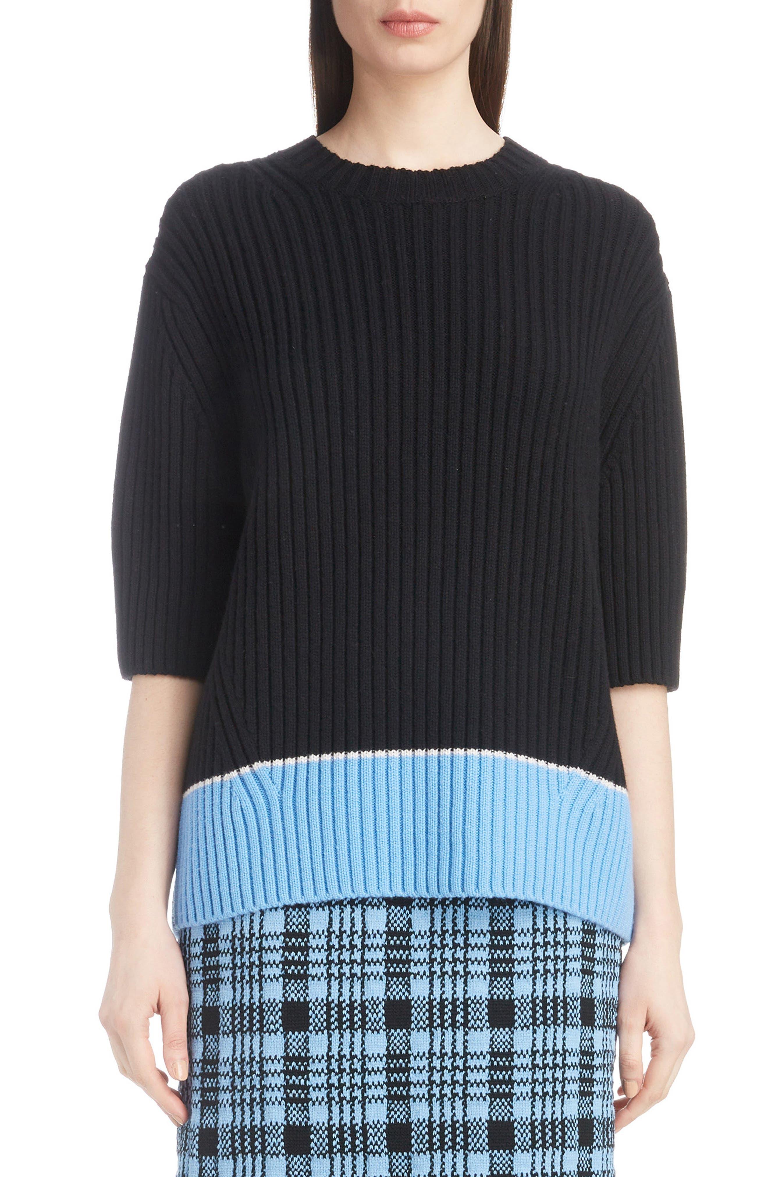 Dries Van Noten Contrast Hem Merino Wool & Cashmere Sweater, Black