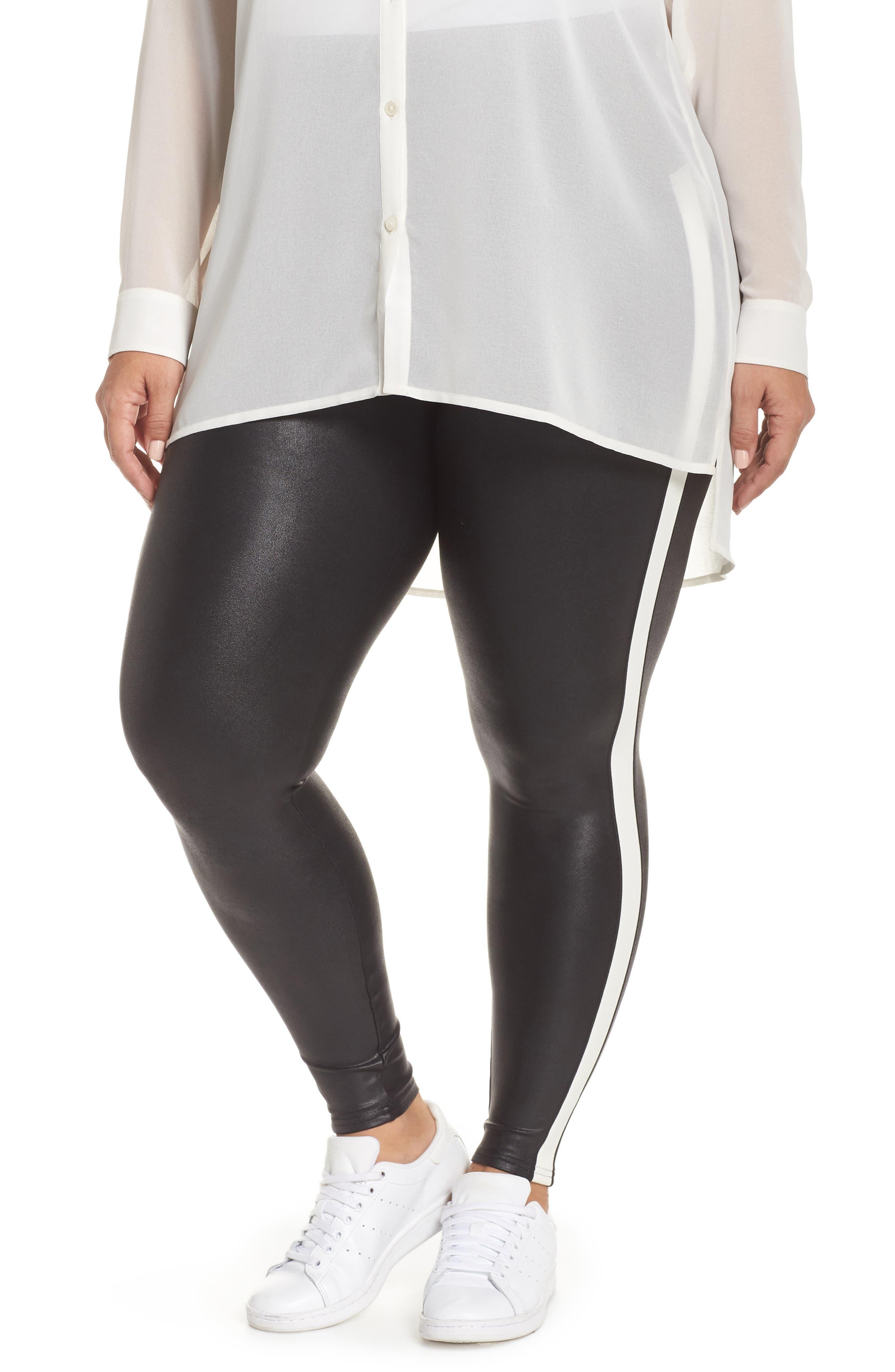 Side Stripe Faux Leather Leggings, Main, color, VERY BLACK/WHT