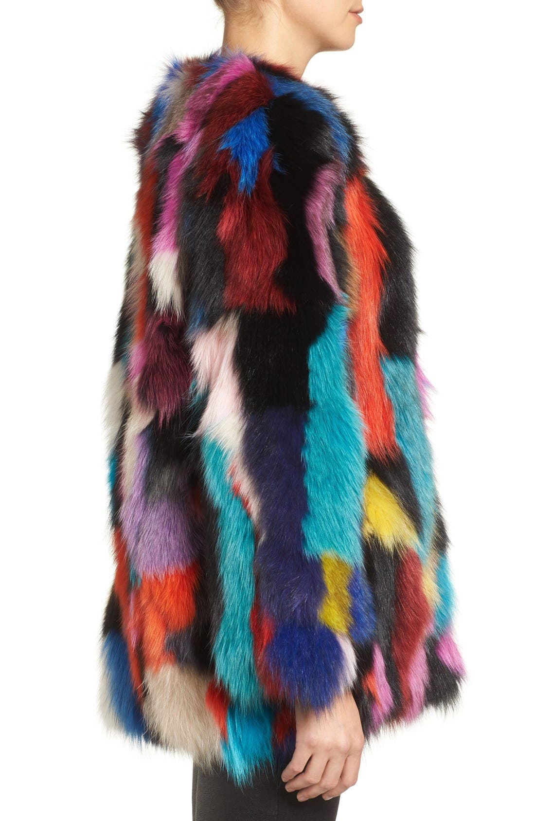 Marmalade Patchwork Genuine Fox Fur Coat,                             Alternate thumbnail 5, color,                             400