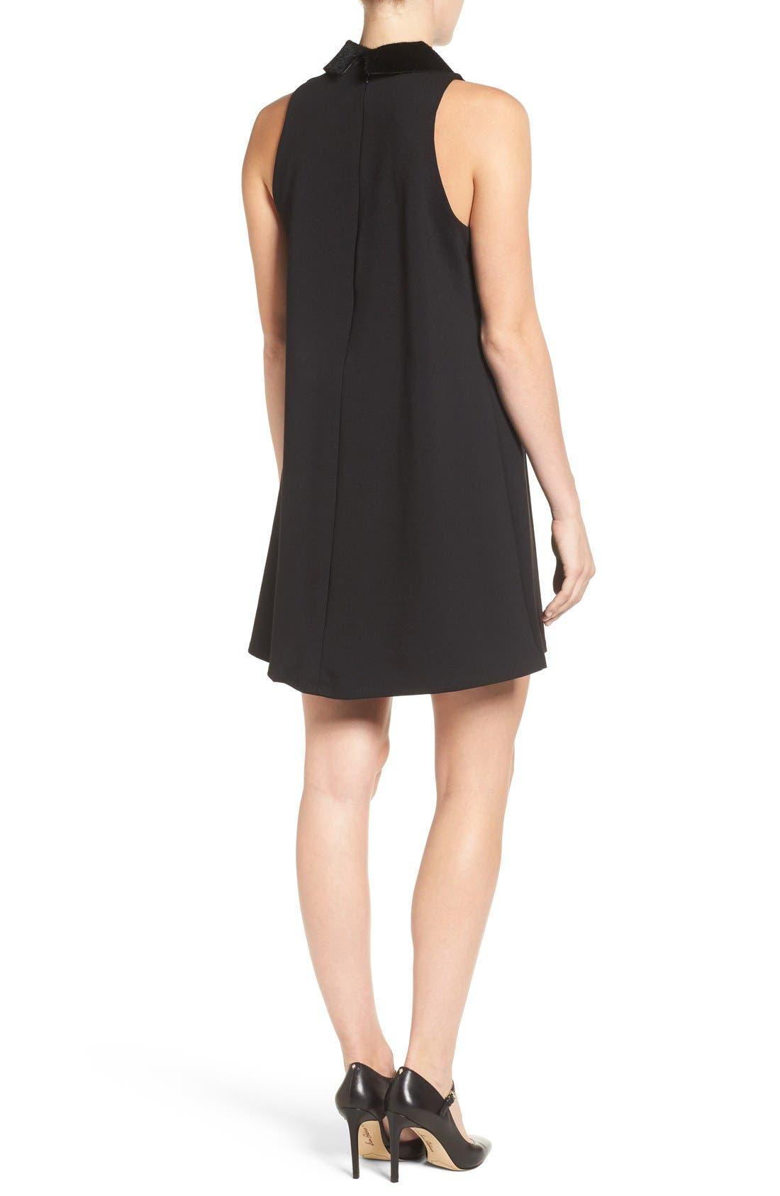Faux Calf Hair Collar Dress,                             Alternate thumbnail 2, color,                             001