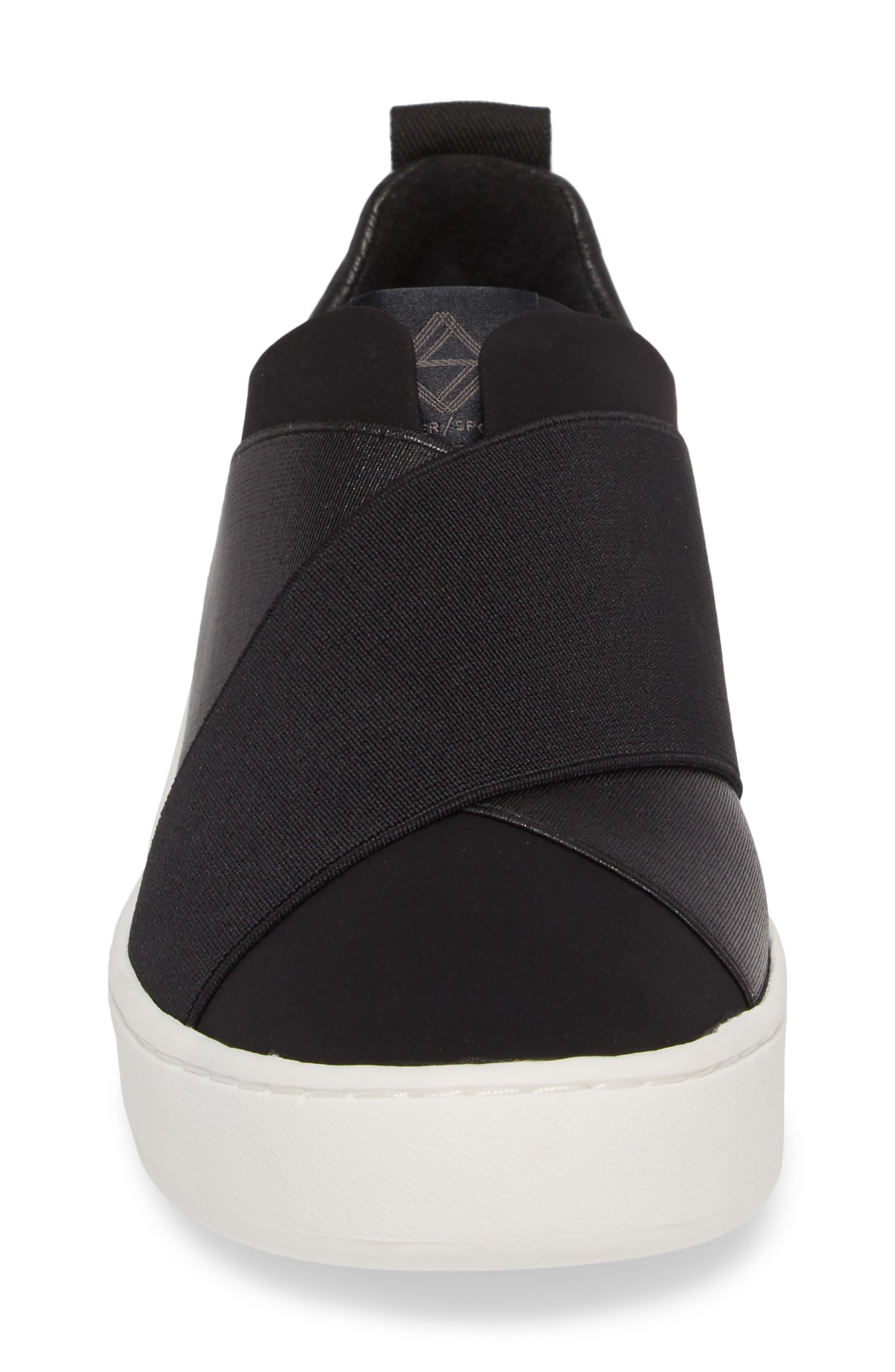 Coley Platform Slip-On Sneaker,                             Alternate thumbnail 4, color,                             BLACK LEATHER