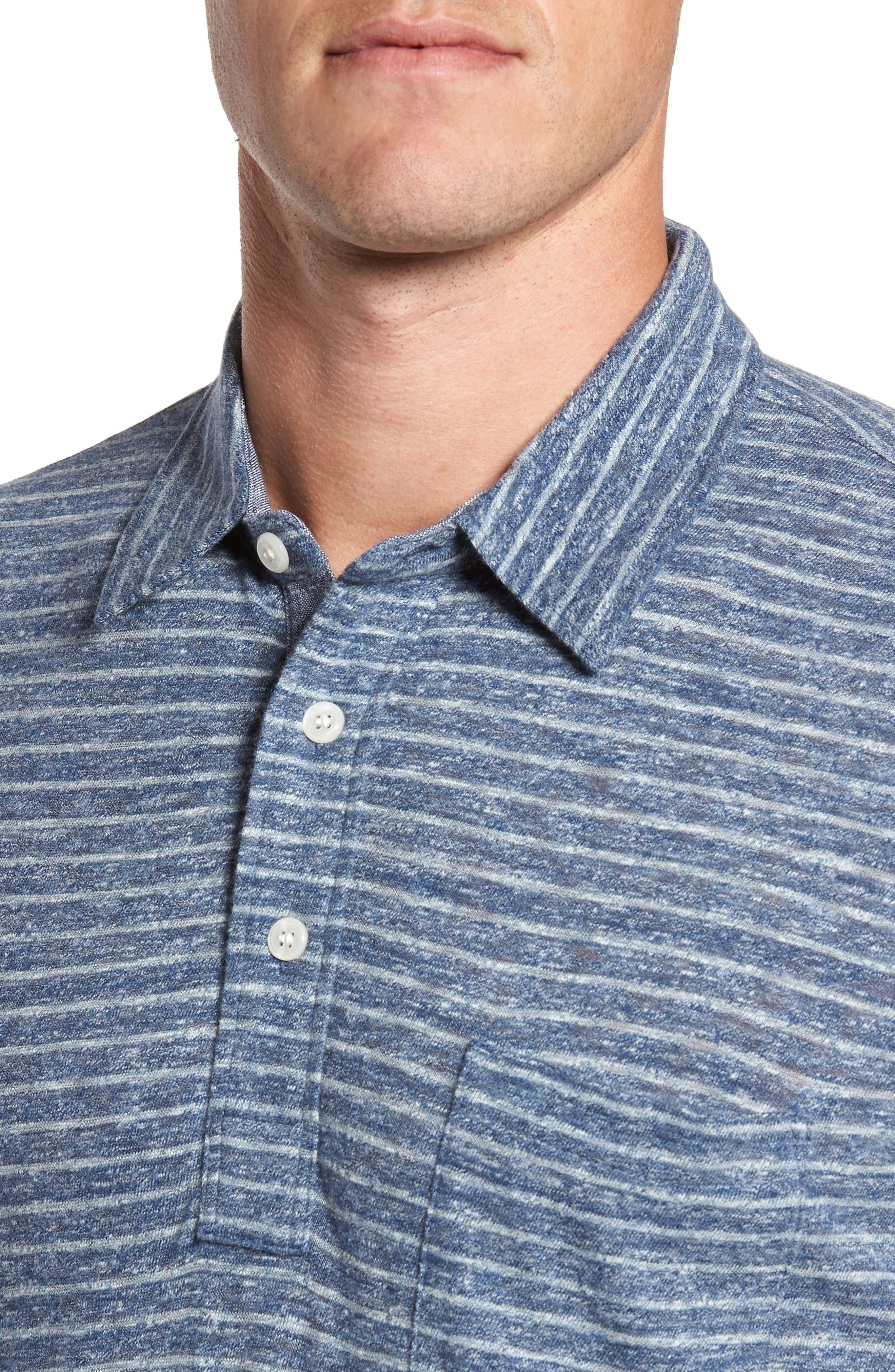 Stripe Long Sleeve Polo,                             Alternate thumbnail 4, color,                             412