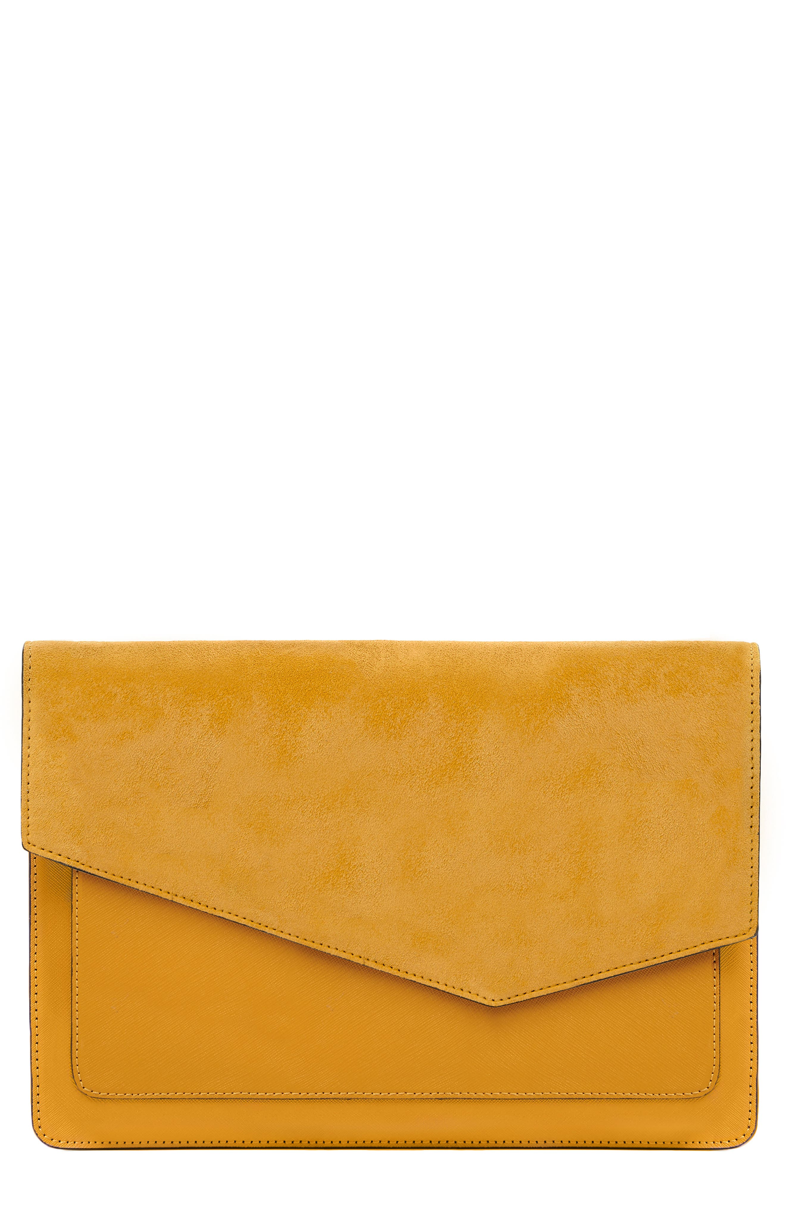 Cobble Hill Calfskin Leather Flap Clutch - Yellow in Golden