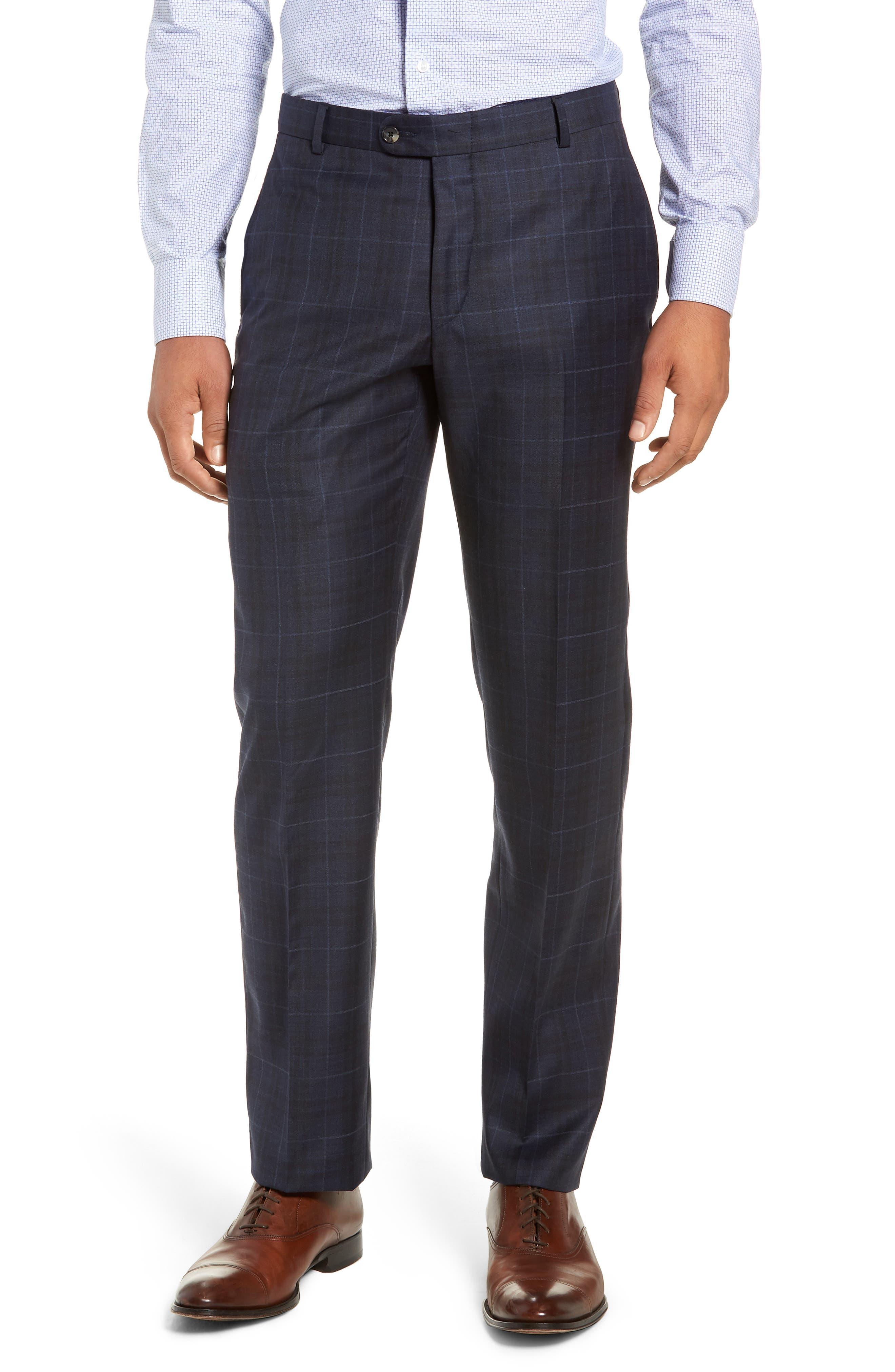 Classic Fit Plaid Wool Suit,                             Alternate thumbnail 6, color,                             DARK BLUE