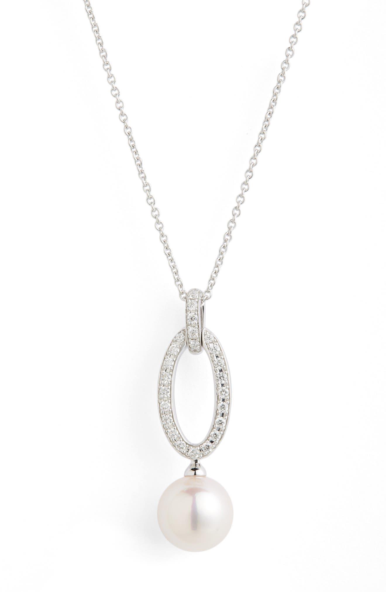 Diamond & Akoya Cultured Pearl Pendant Necklace,                             Alternate thumbnail 3, color,                             WHITE GOLD