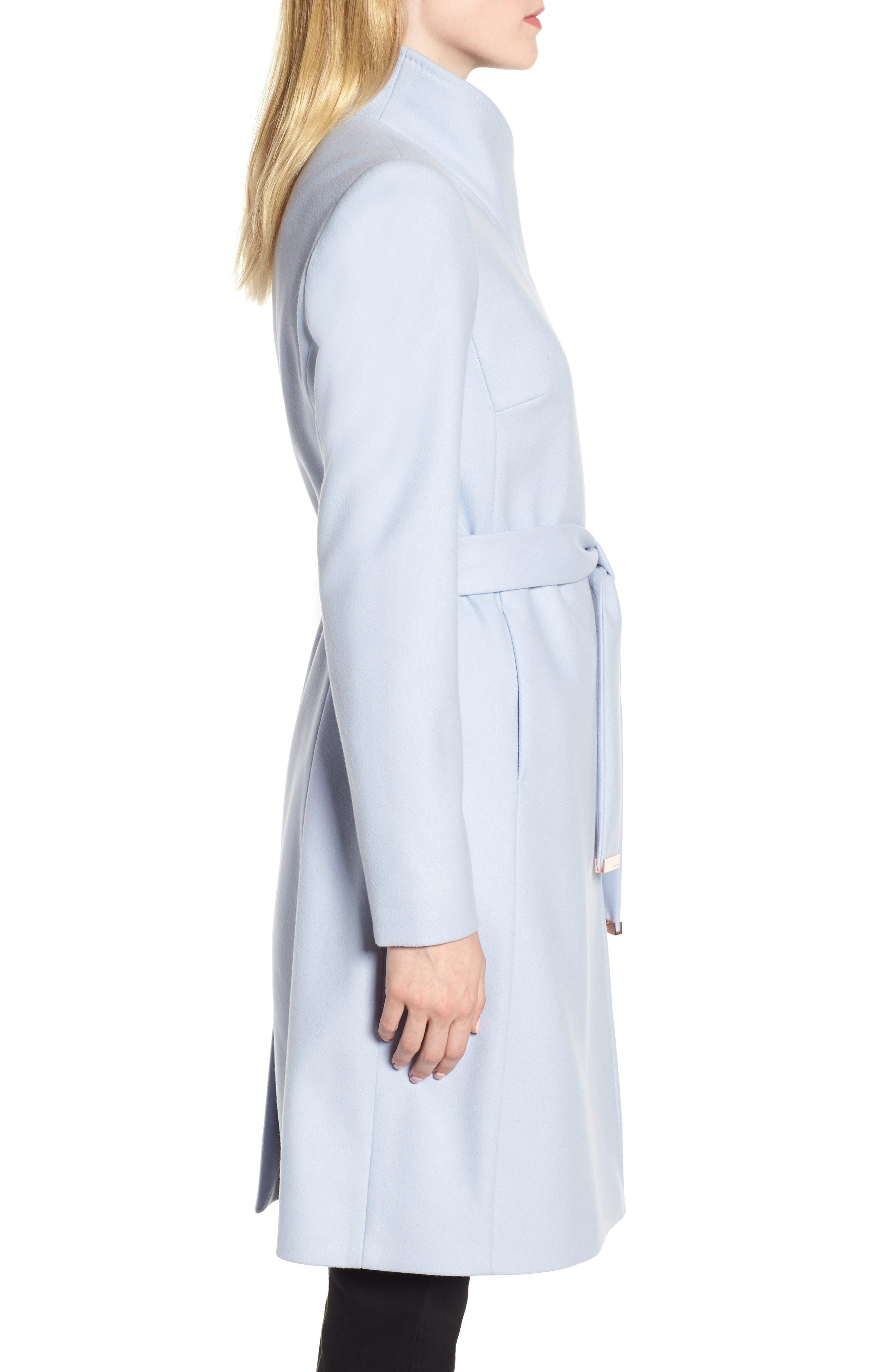 Wool Blend Long Wrap Coat,                             Alternate thumbnail 3, color,                             POWDER BLUE