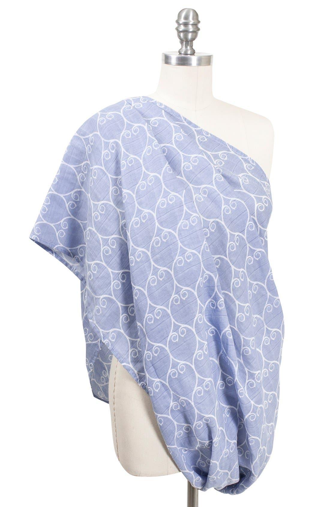 Muslin Infinity Nursing Scarf,                         Main,                         color, BLUE/ WHITE