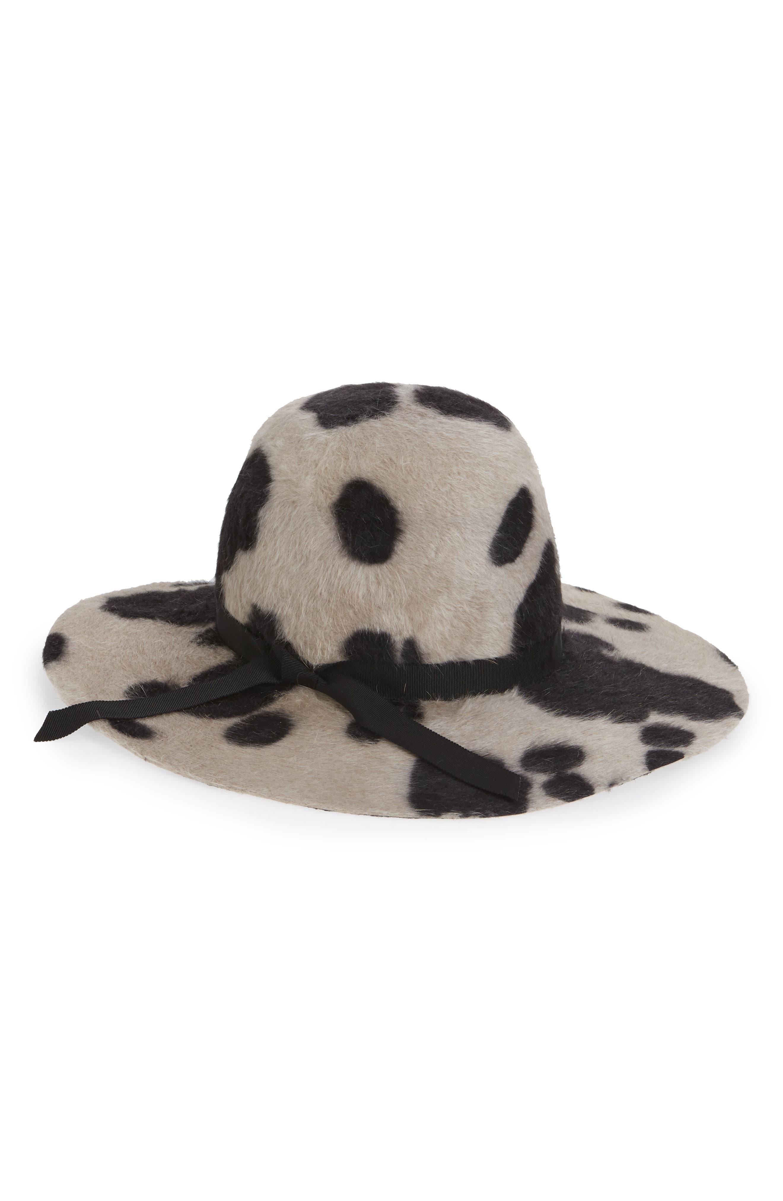 Aliyah Cow Print Rabbit Fur Felt Hat,                             Main thumbnail 1, color,                             ALABASTER/ BLACK