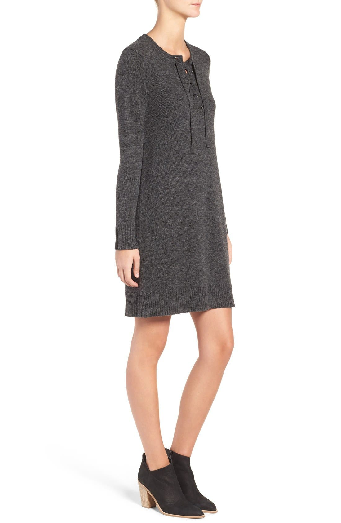 Lace-Up Merino Wool Sweater Dress,                             Alternate thumbnail 2, color,                             020