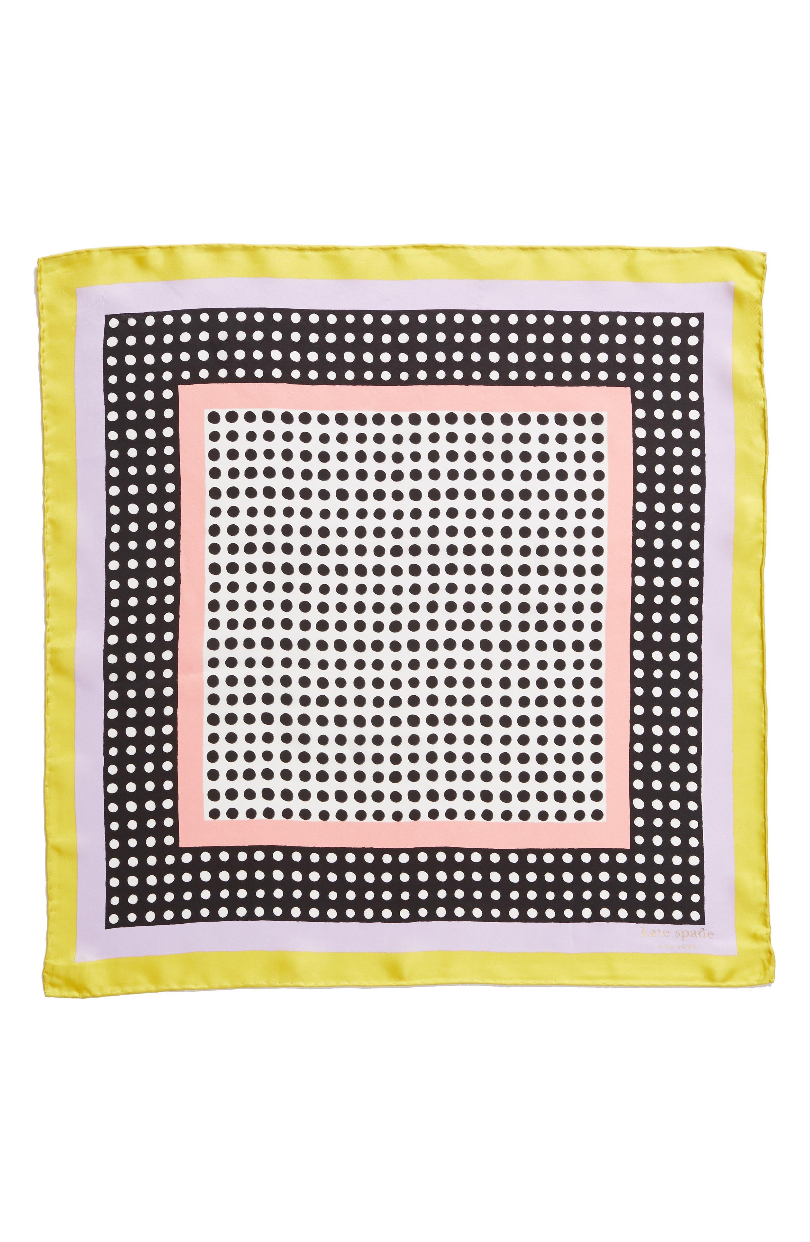 KATE SPADE NEW YORK,                             dotty silk bandana,                             Alternate thumbnail 3, color,                             CHARTREUSE