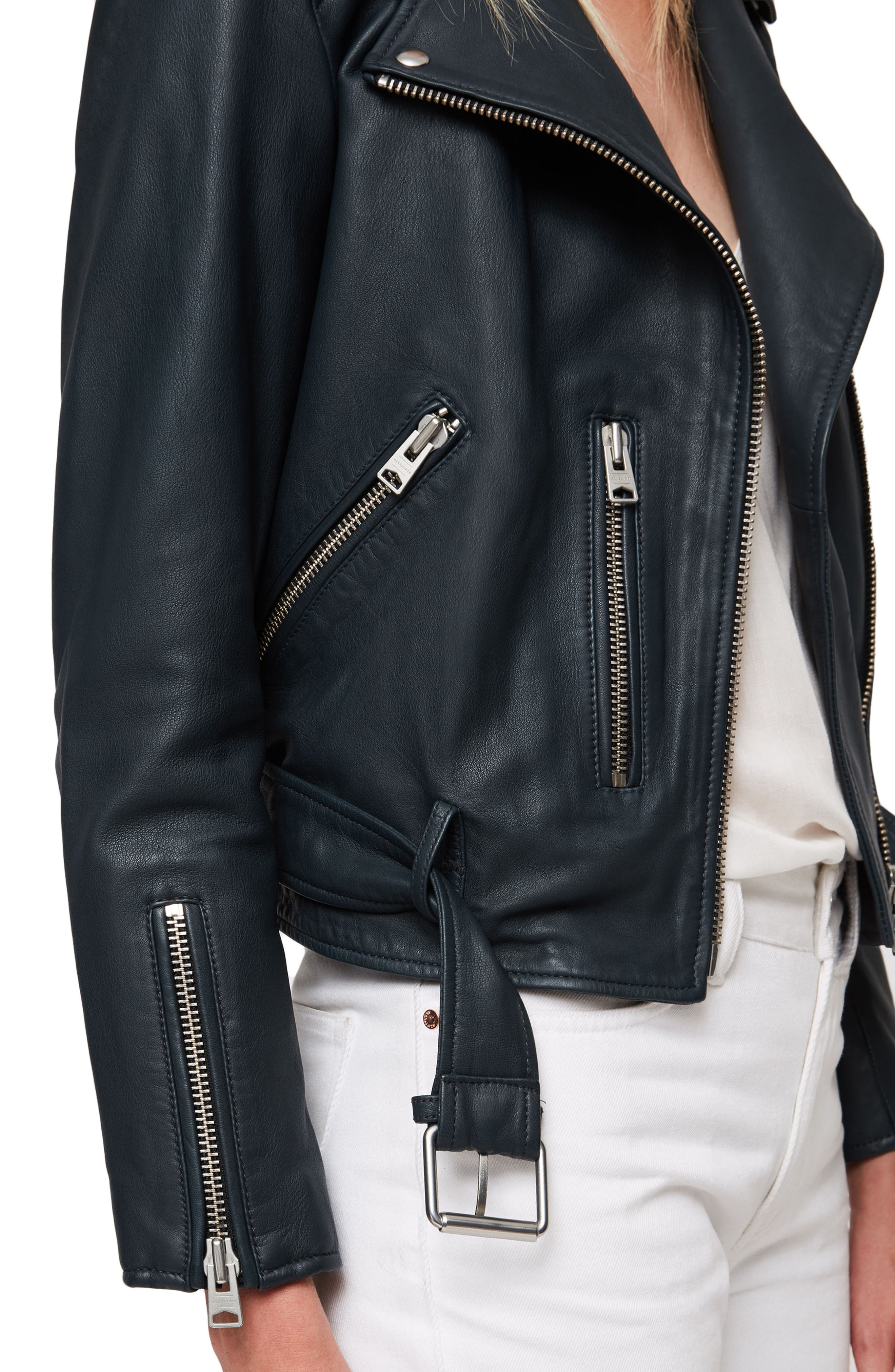 Balfern Leather Biker Jacket,                             Alternate thumbnail 5, color,                             404
