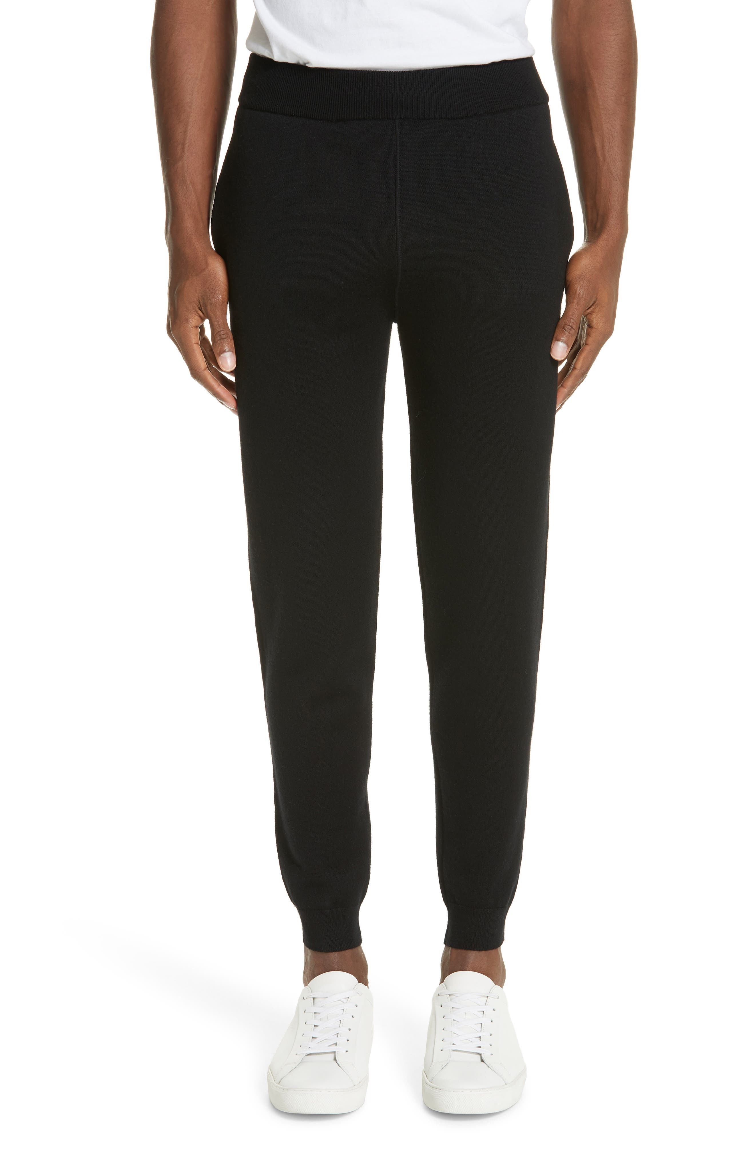 Trim Fit French Terry Wool Jogger Pants,                             Main thumbnail 1, color,                             BLACK