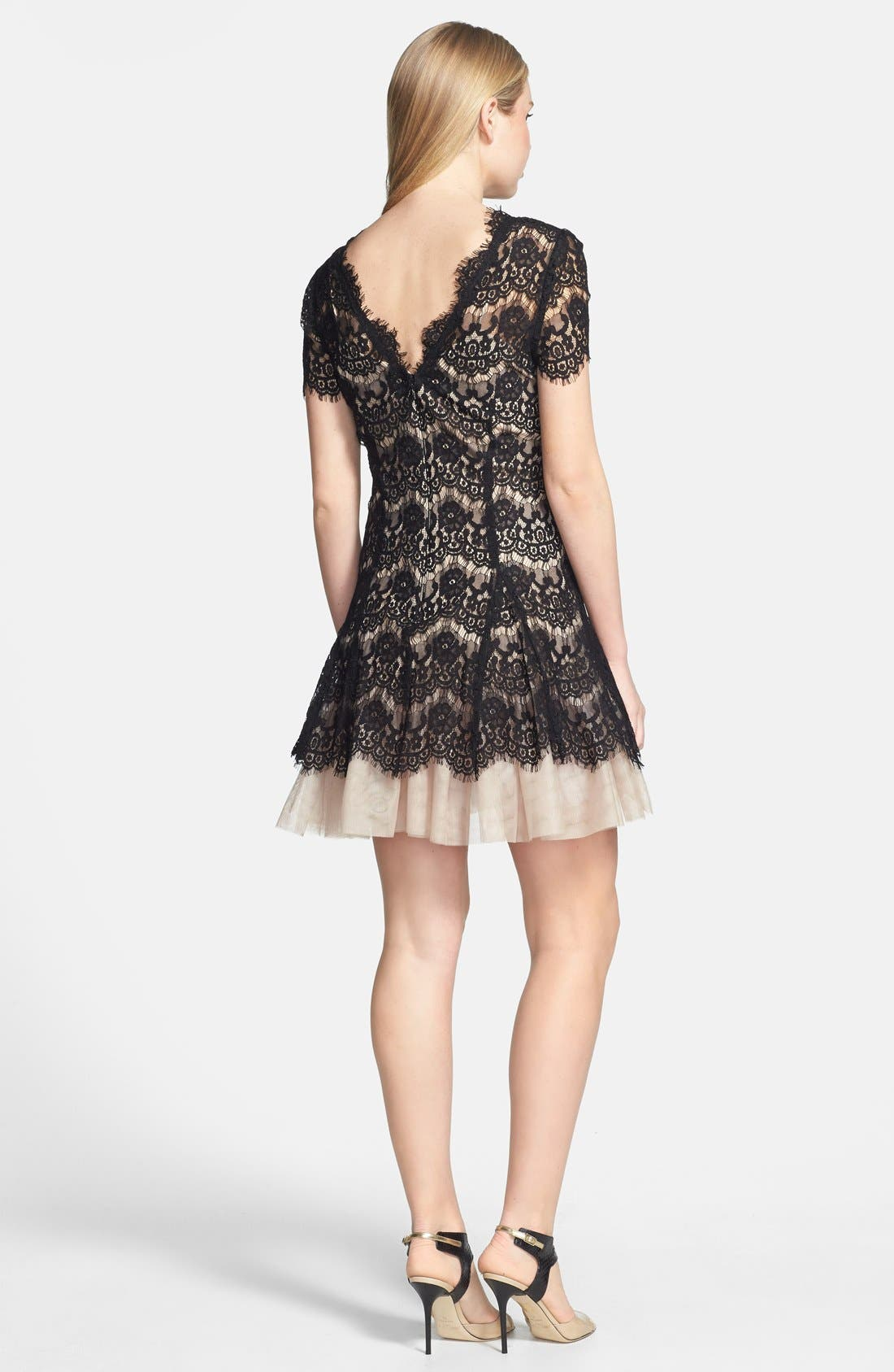 BETSY & ADAM,                             Short Sleeve Lace Fit & Flare Dress,                             Alternate thumbnail 4, color,                             001