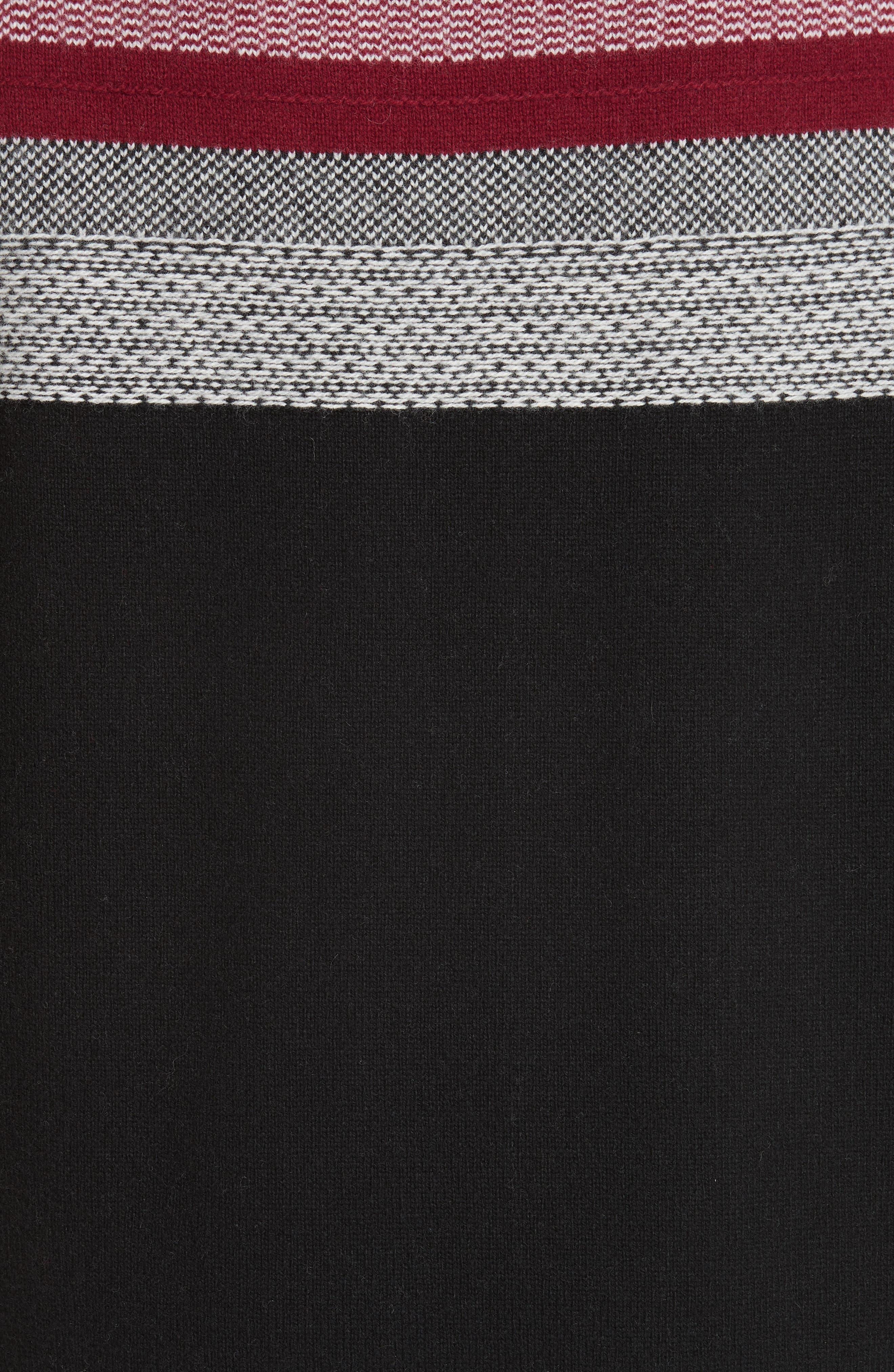 Fair Isle Merino Wool Blend Sweater,                             Alternate thumbnail 5, color,                             BLACK/ RED COMBO
