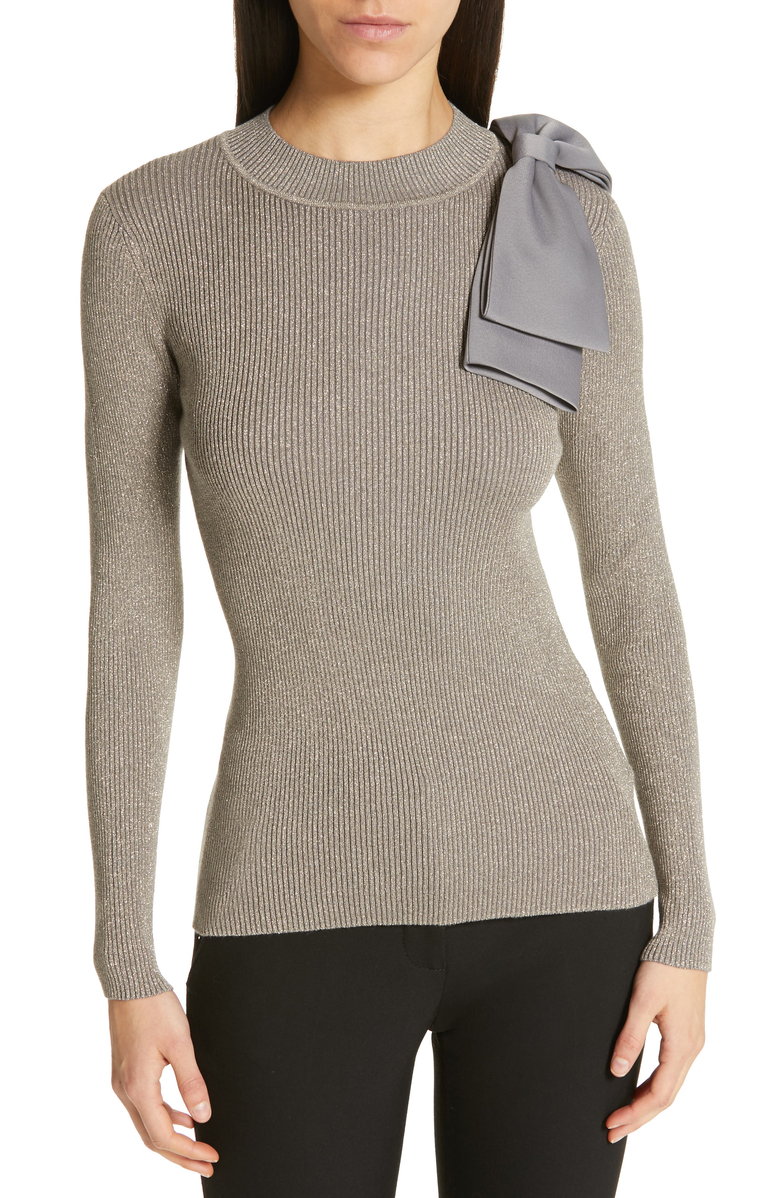 Saaydie Bow Trim Metallic Sweater,                         Main,                         color, CHARCOAL