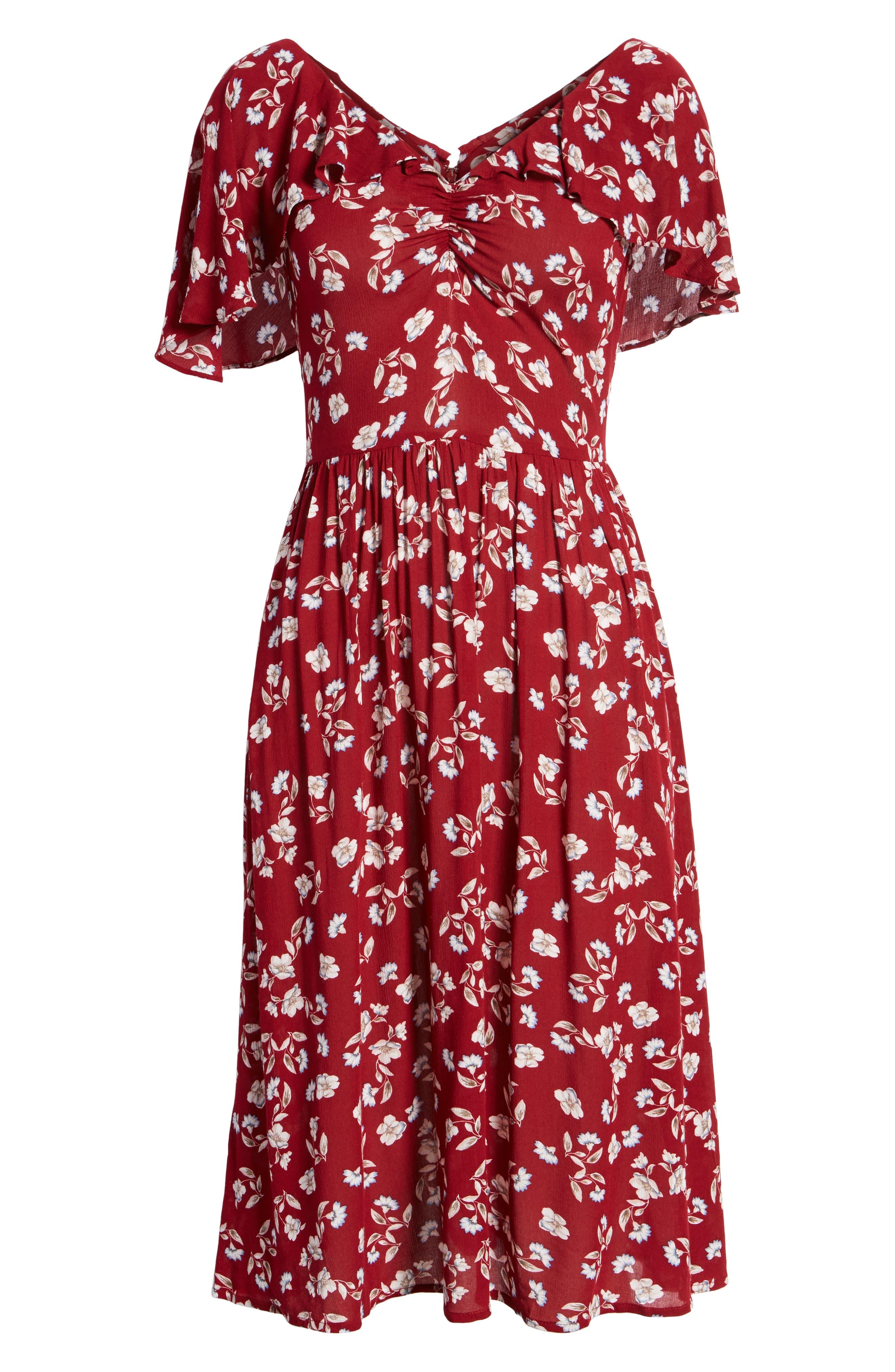 Floral Midi Dress,                             Alternate thumbnail 7, color,                             WINE FLORAL