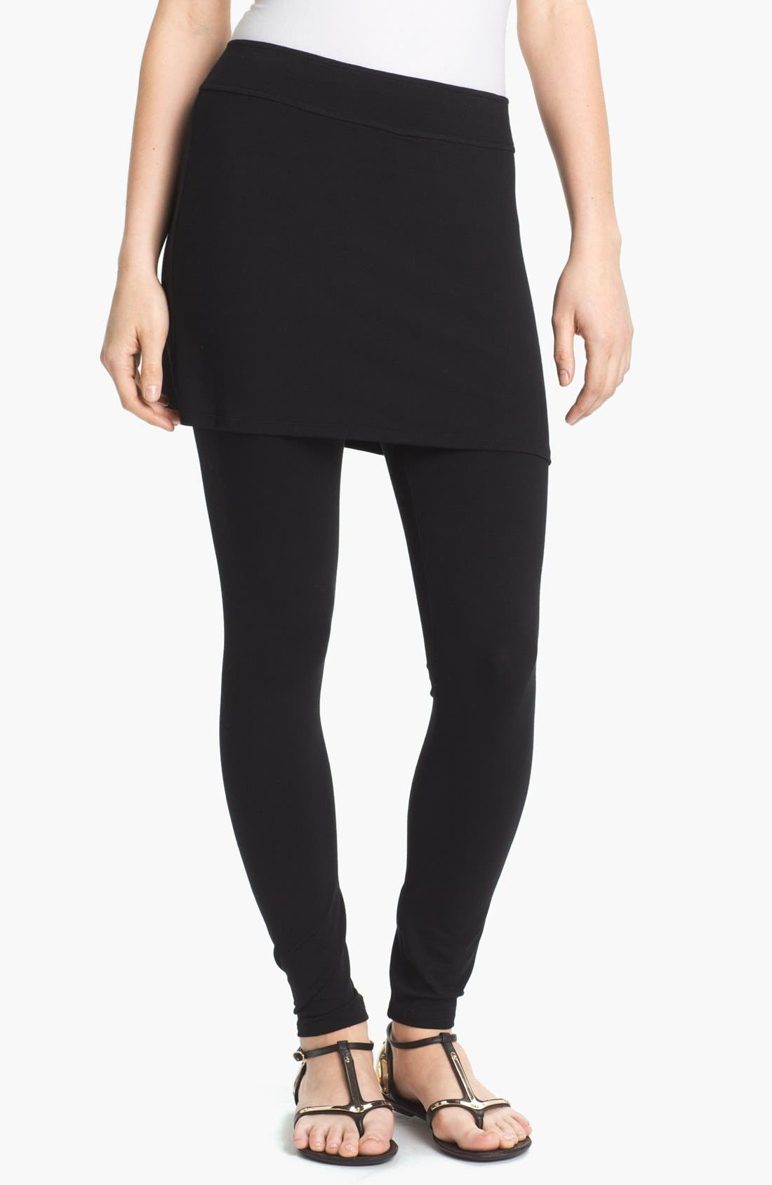 Skirted Ankle Leggings,                         Main,                         color, BLACK