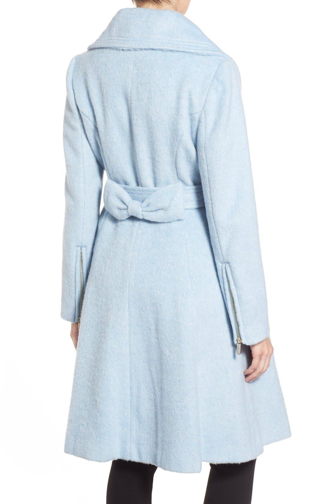 Brushed Wool Blend Fit & Flare Coat,                             Alternate thumbnail 10, color,