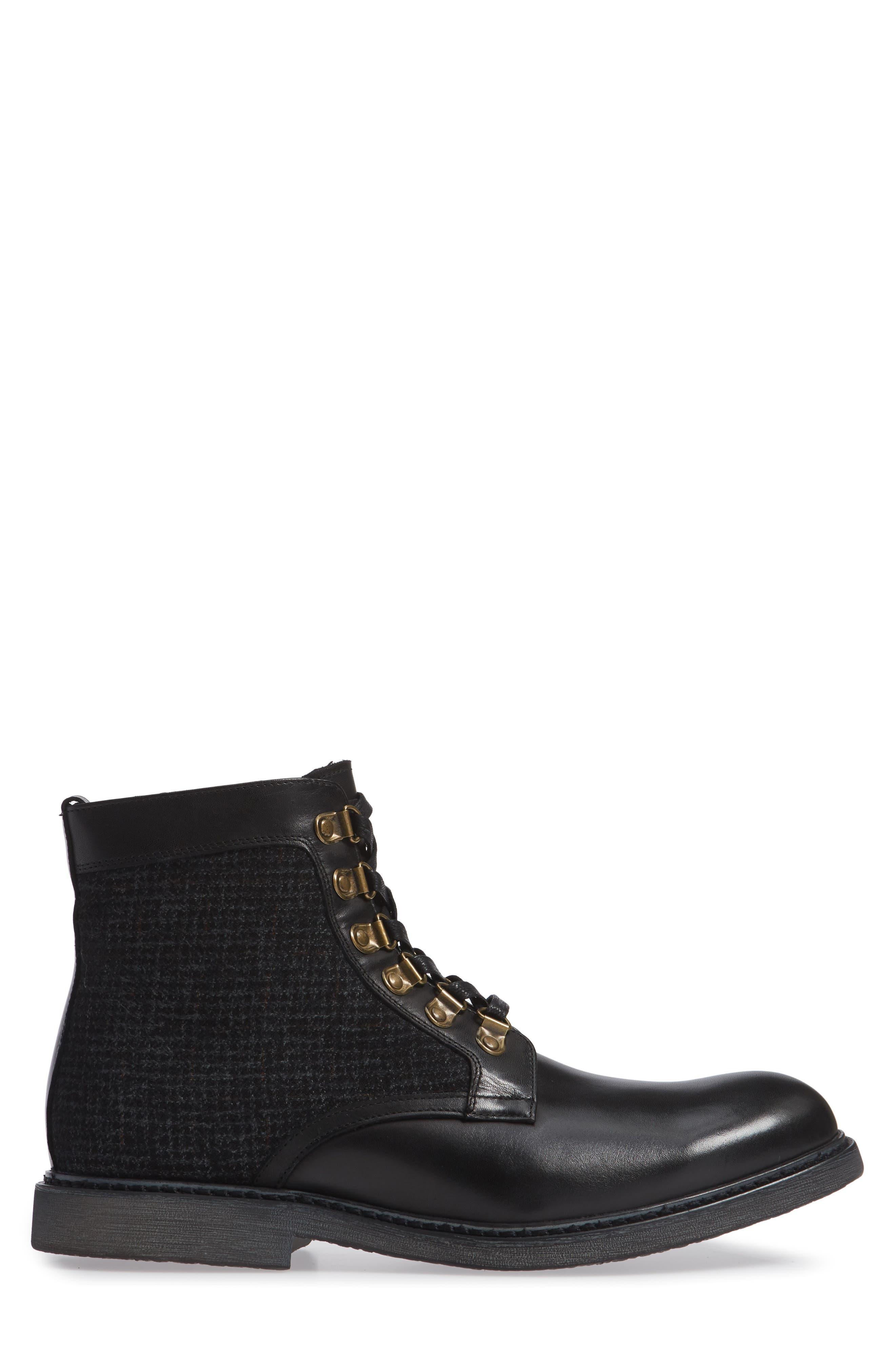 Bradford Textured Suede Boot,                             Alternate thumbnail 3, color,                             BLACK