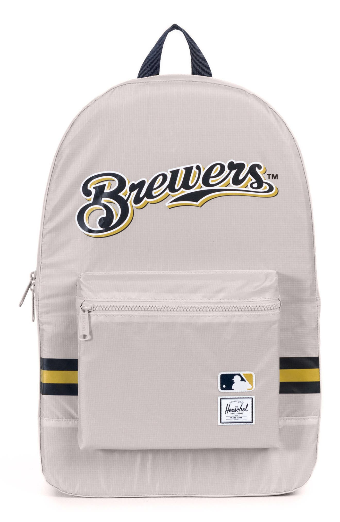 Packable - MLB National League Backpack,                             Main thumbnail 1, color,                             MILWAUKEE BREWERS