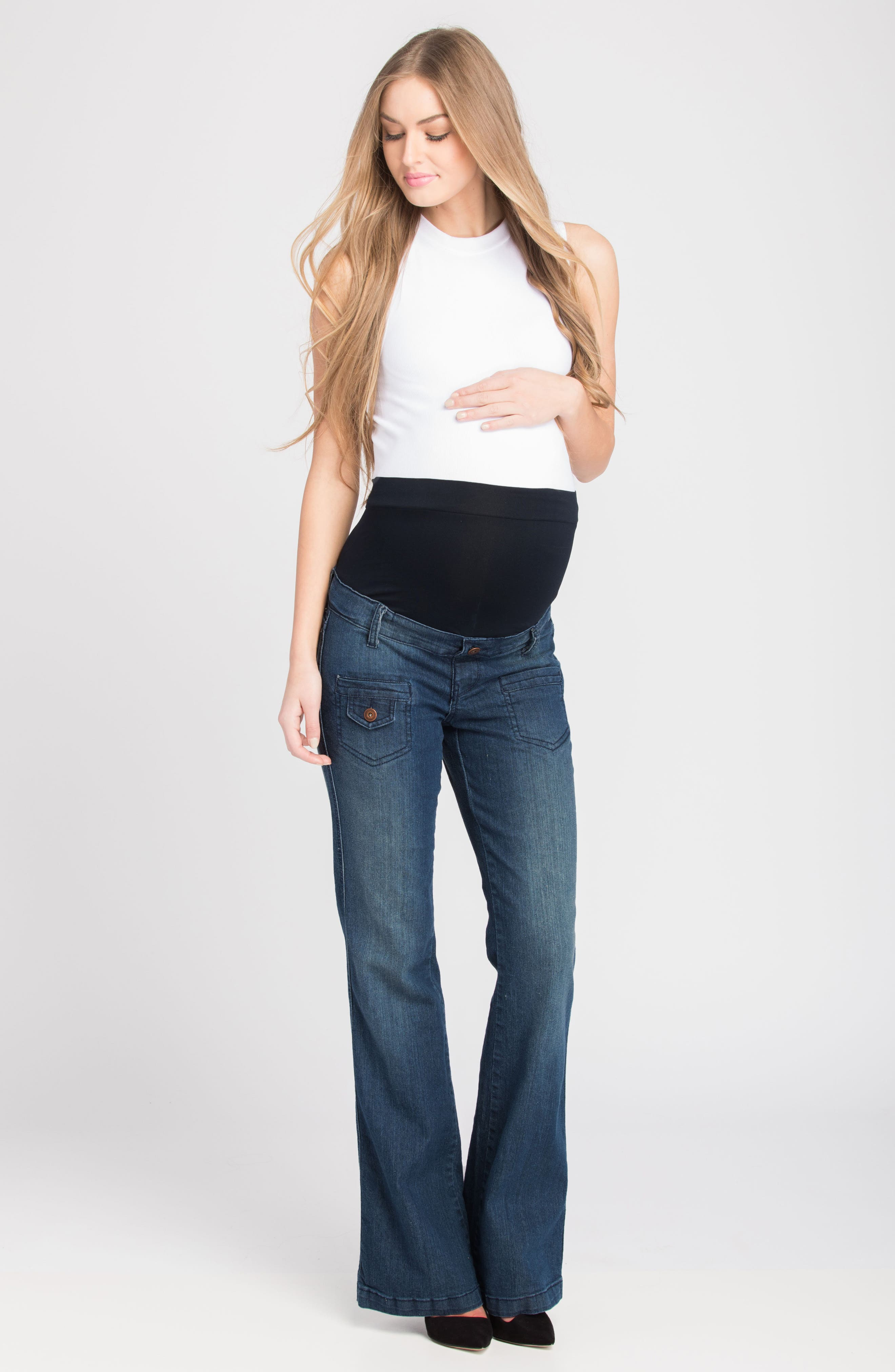 Flare Maternity Stretch Jeans,                             Alternate thumbnail 5, color,                             401