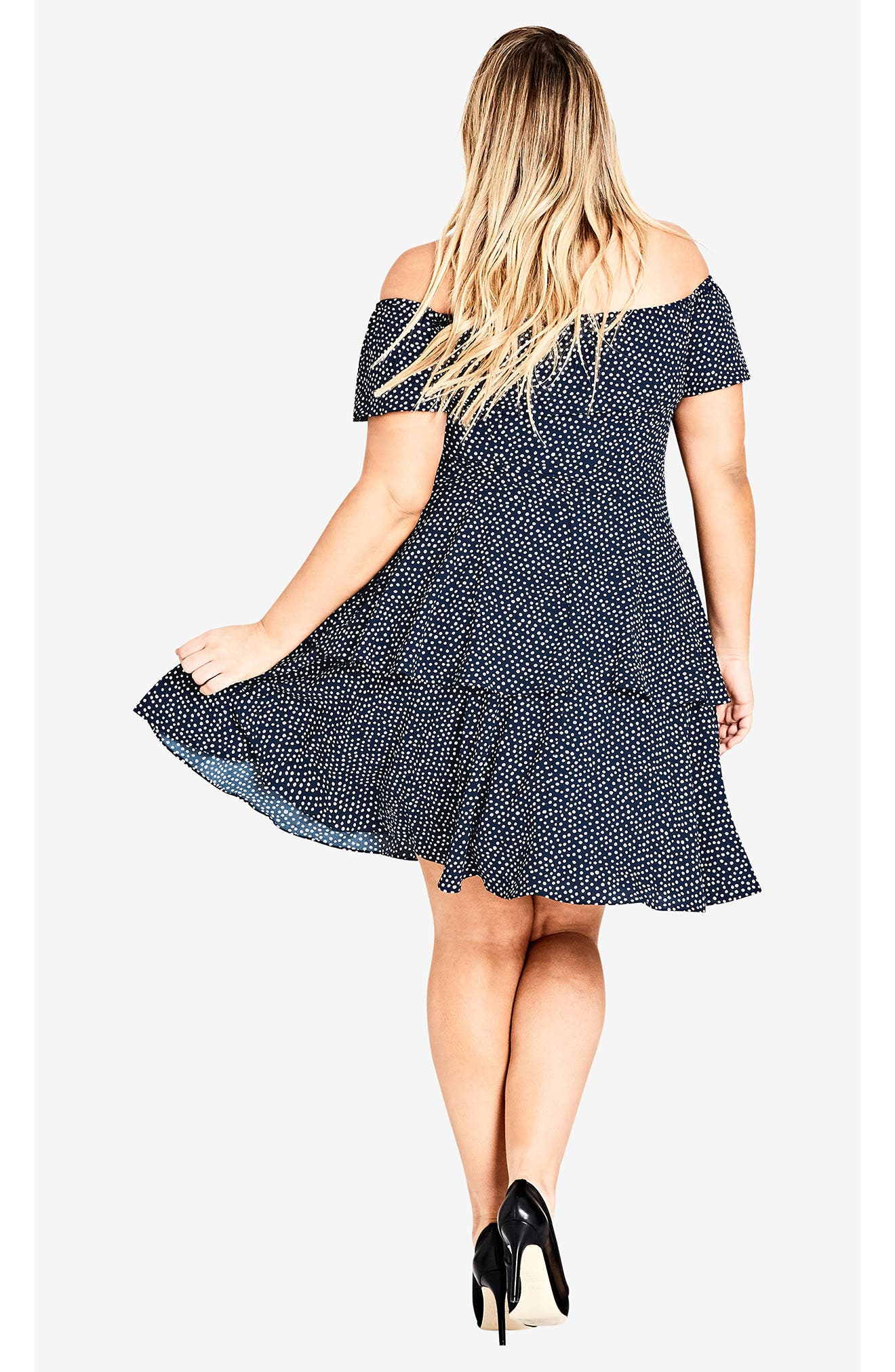 Spot Off the Shoulder Dress,                             Alternate thumbnail 5, color,                             NAVY SPOT