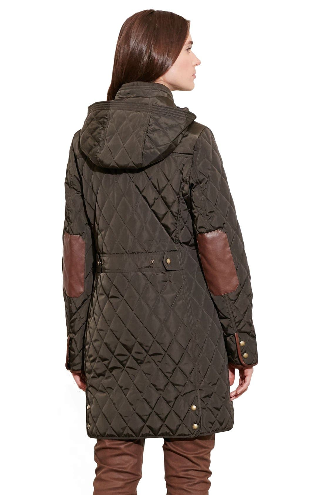 Diamond Quilted Coat with Faux Leather Trim,                             Alternate thumbnail 7, color,