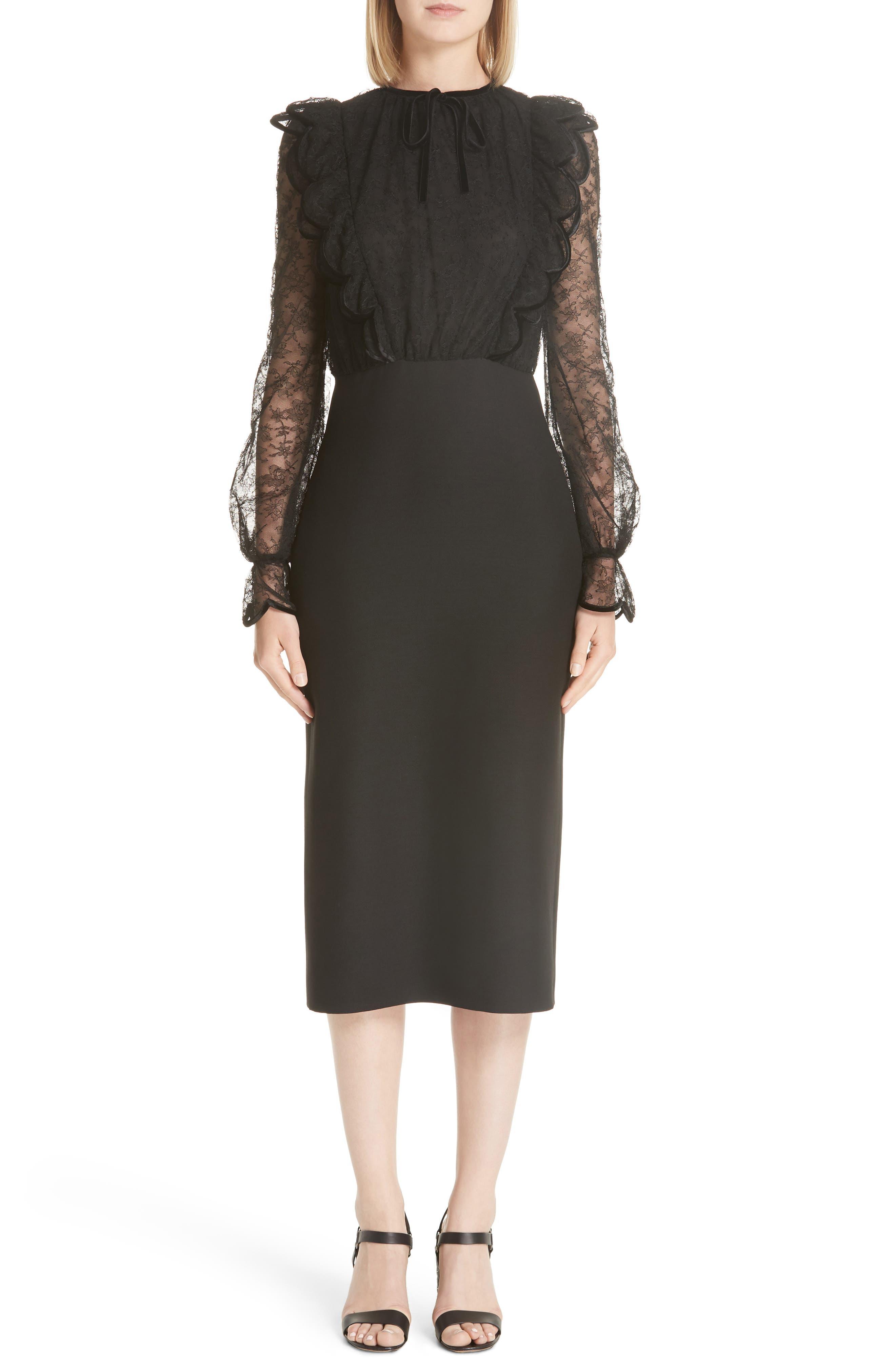 Lace Bodice Sheath Dress,                             Main thumbnail 1, color,                             001
