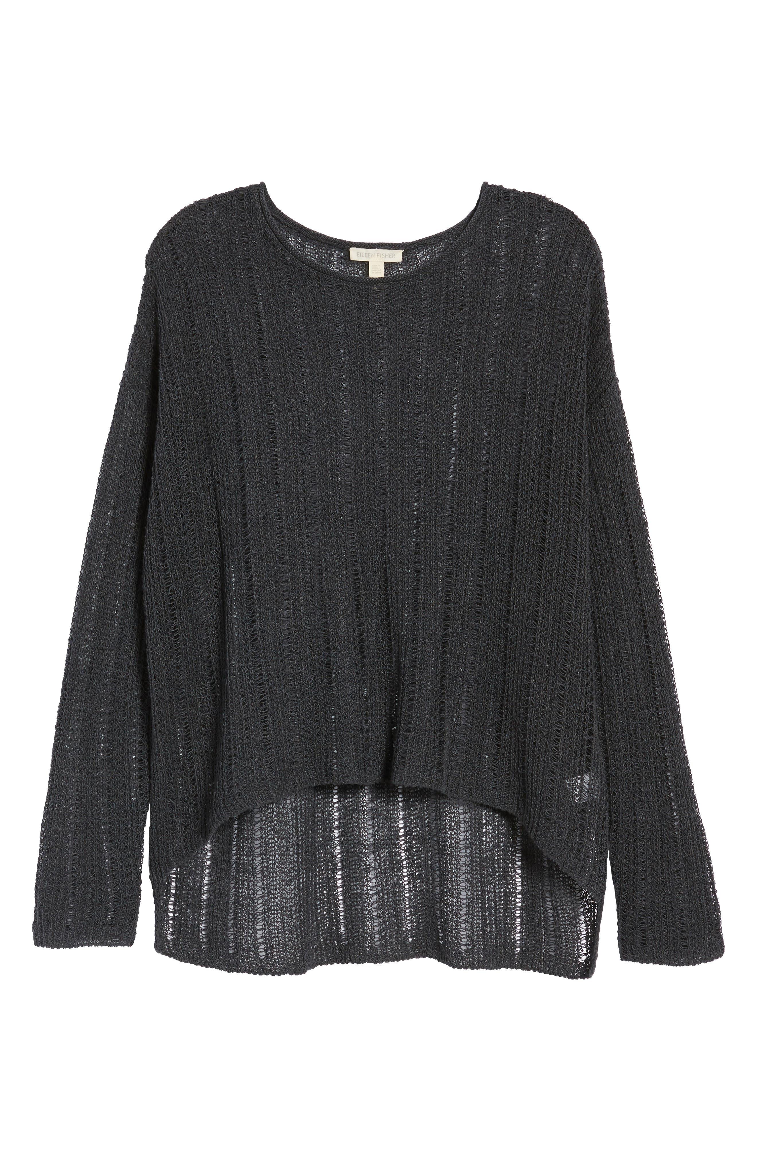 Open Knit Organic Linen Blend Sweater,                             Alternate thumbnail 7, color,                             025