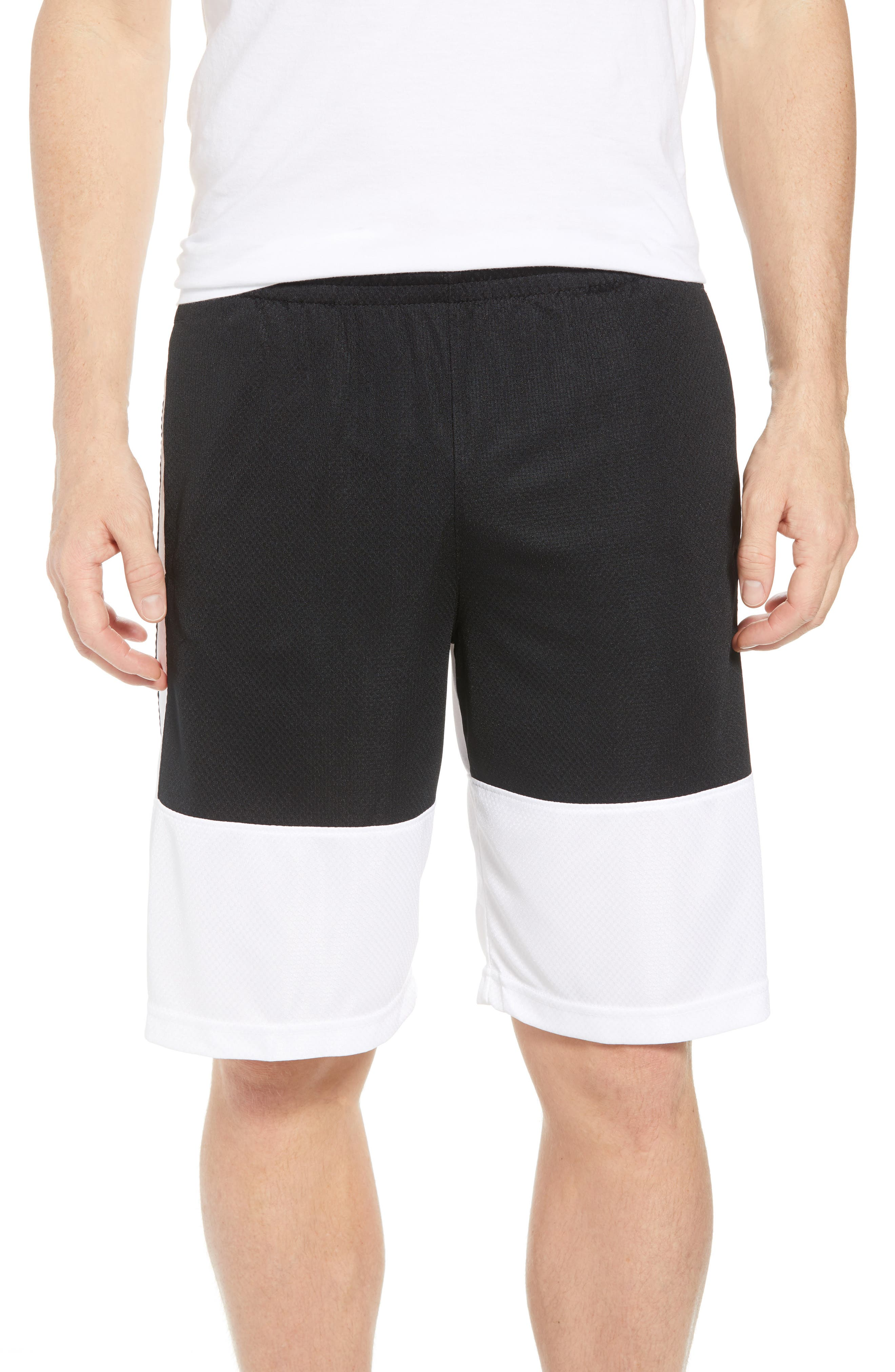 Rise Shorts,                         Main,                         color, WHITE/ BLACK/ BLACK